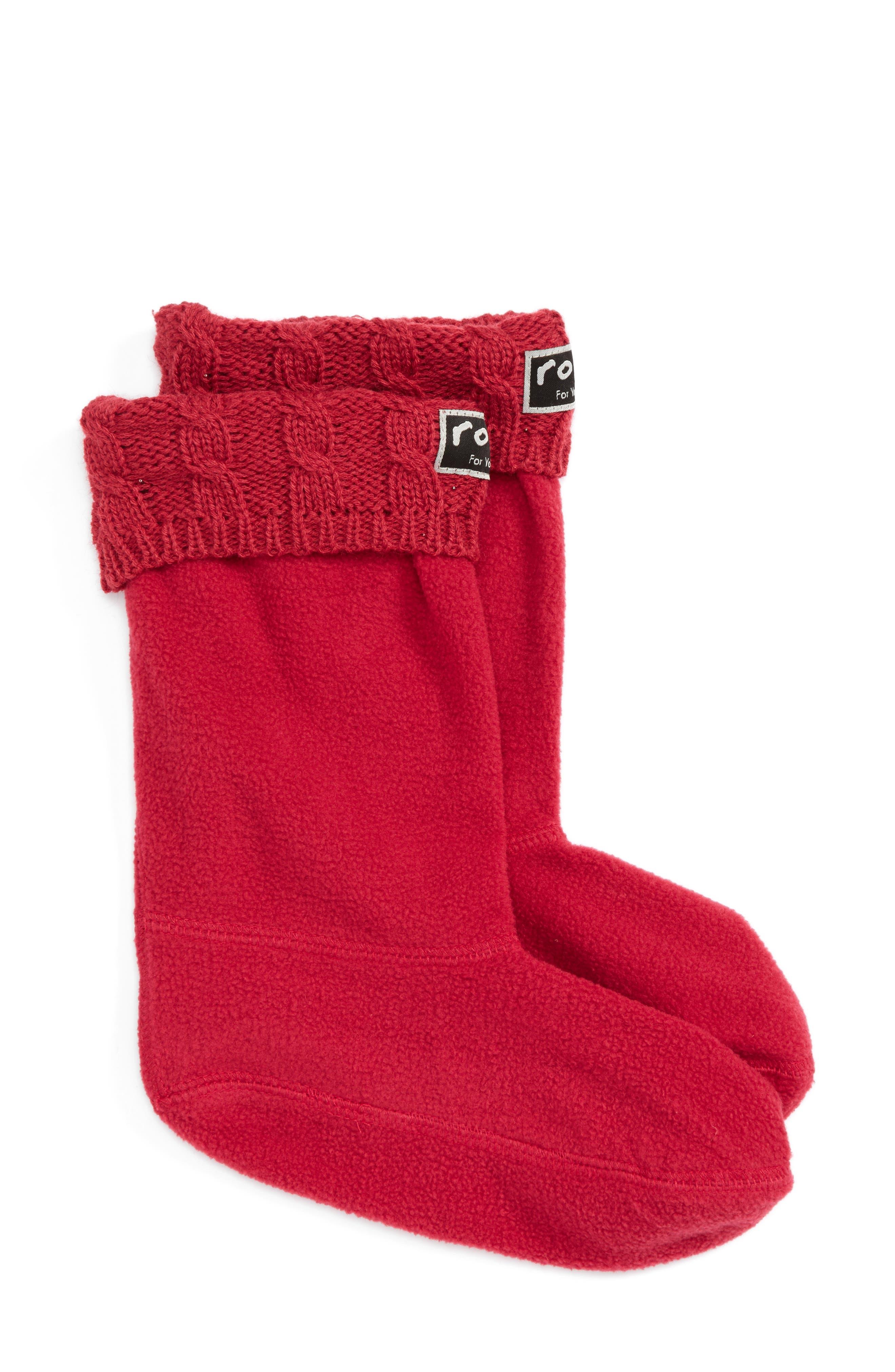 Knit Collar Fleece Boot Socks,                             Main thumbnail 1, color,                             Raspberry
