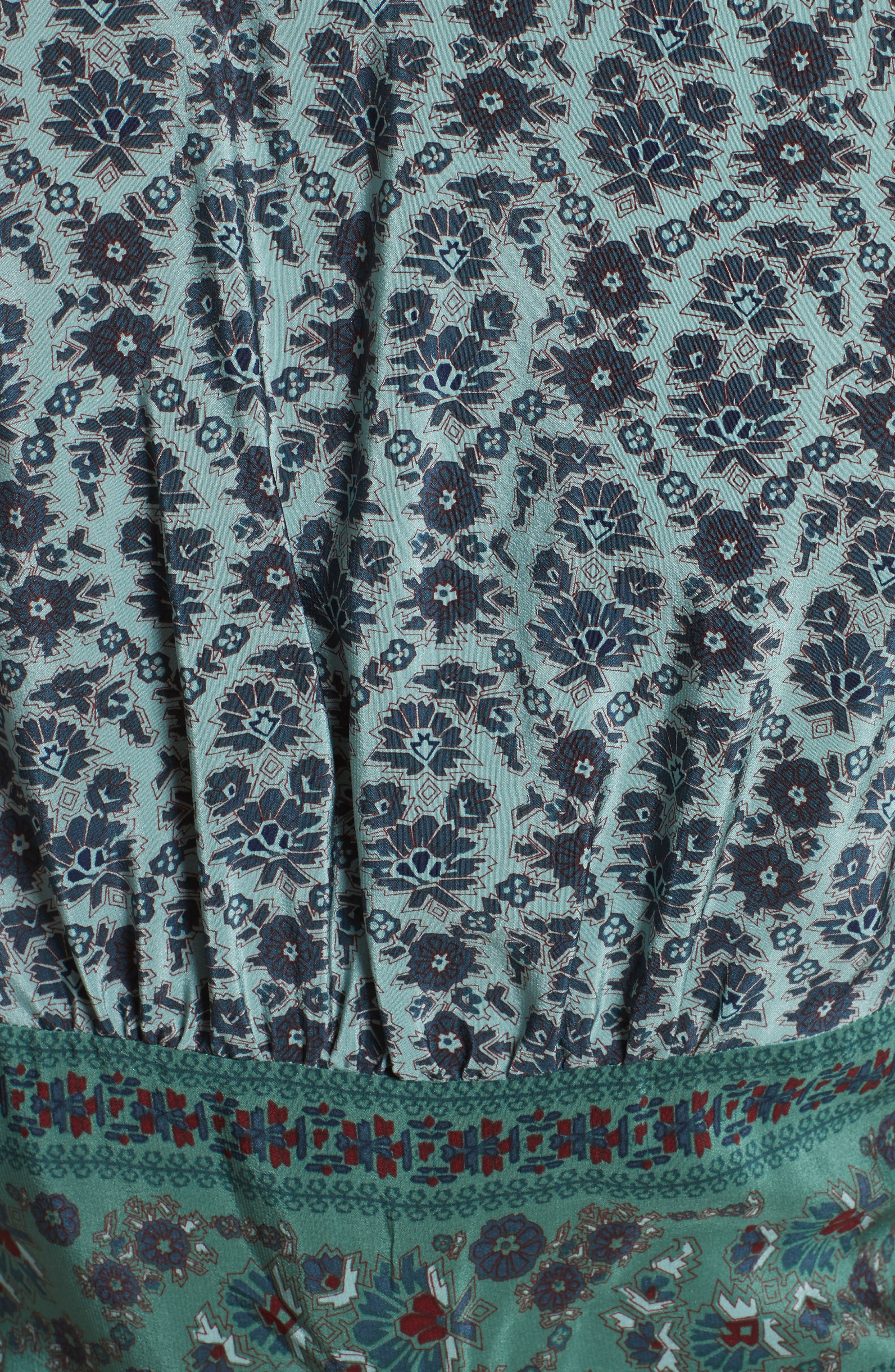 Print Silk Midi Dress,                             Alternate thumbnail 5, color,                             Jade