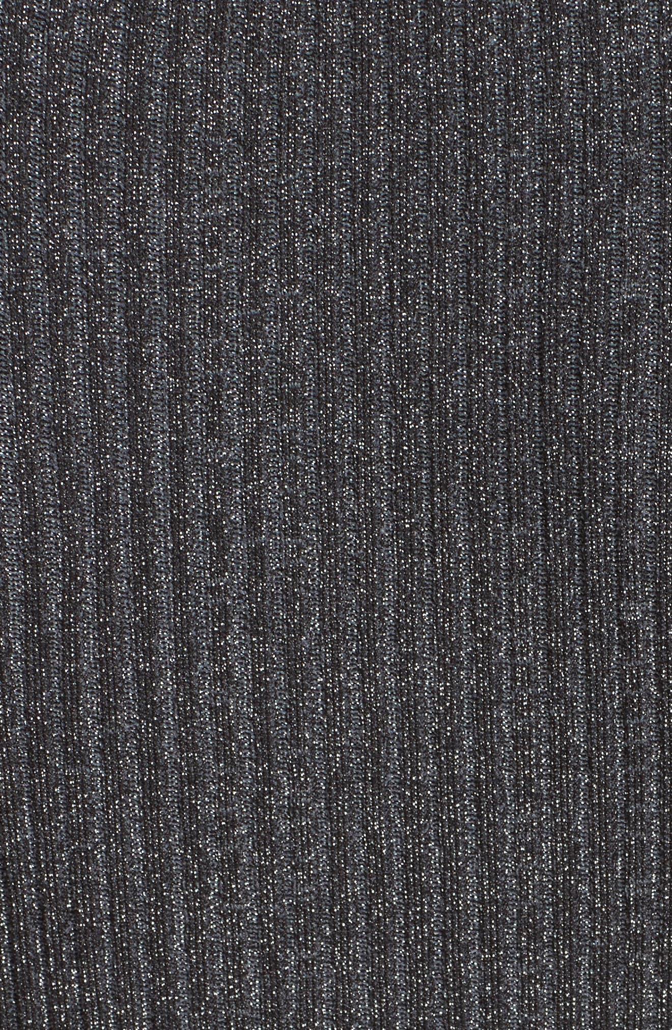 Stardust Rib Knit Sheath Dress,                             Alternate thumbnail 5, color,                             Gunmetal