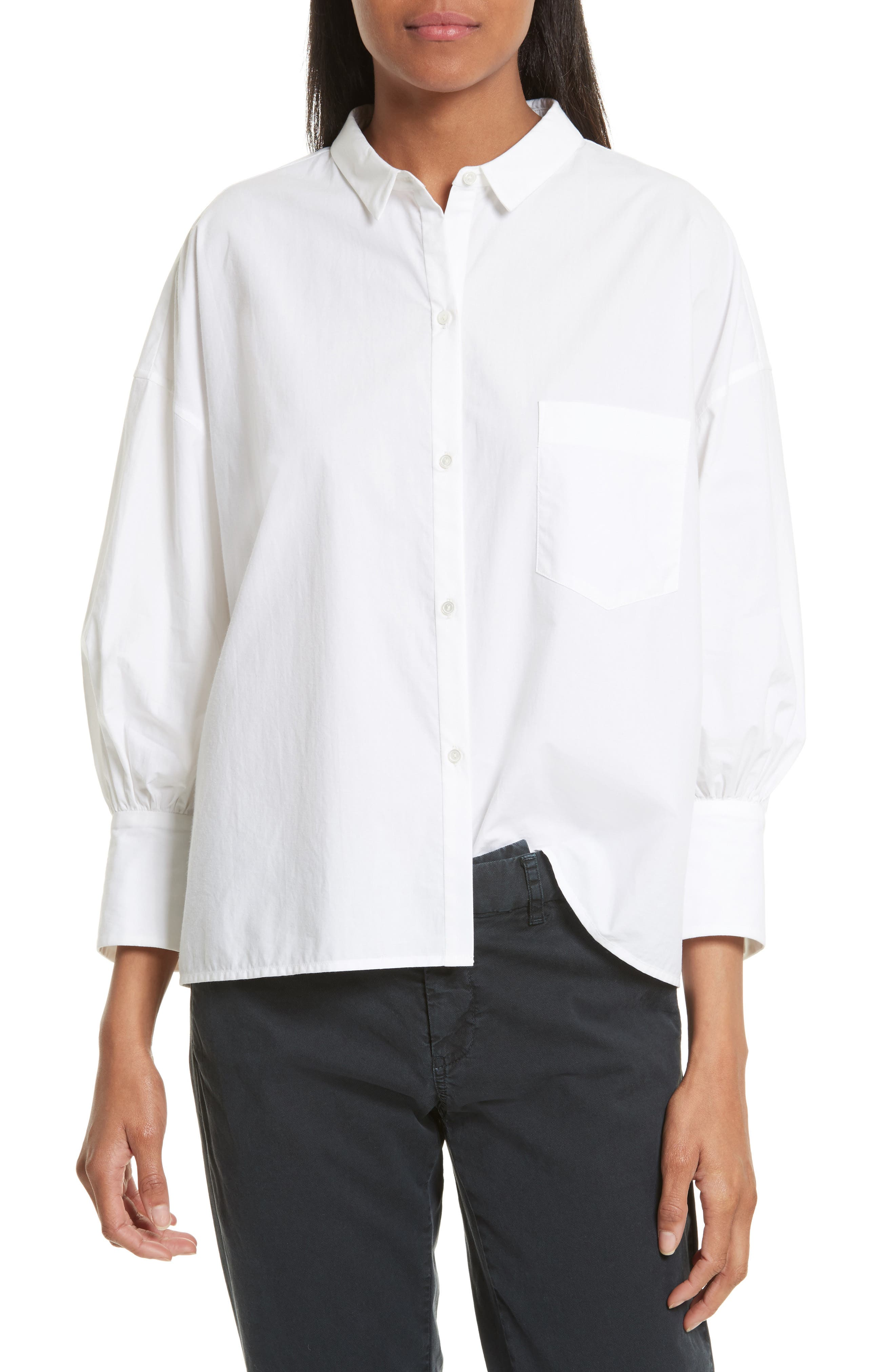 Alternate Image 1 Selected - Nili Lotan Filmore Gathered Cotton Poplin Top