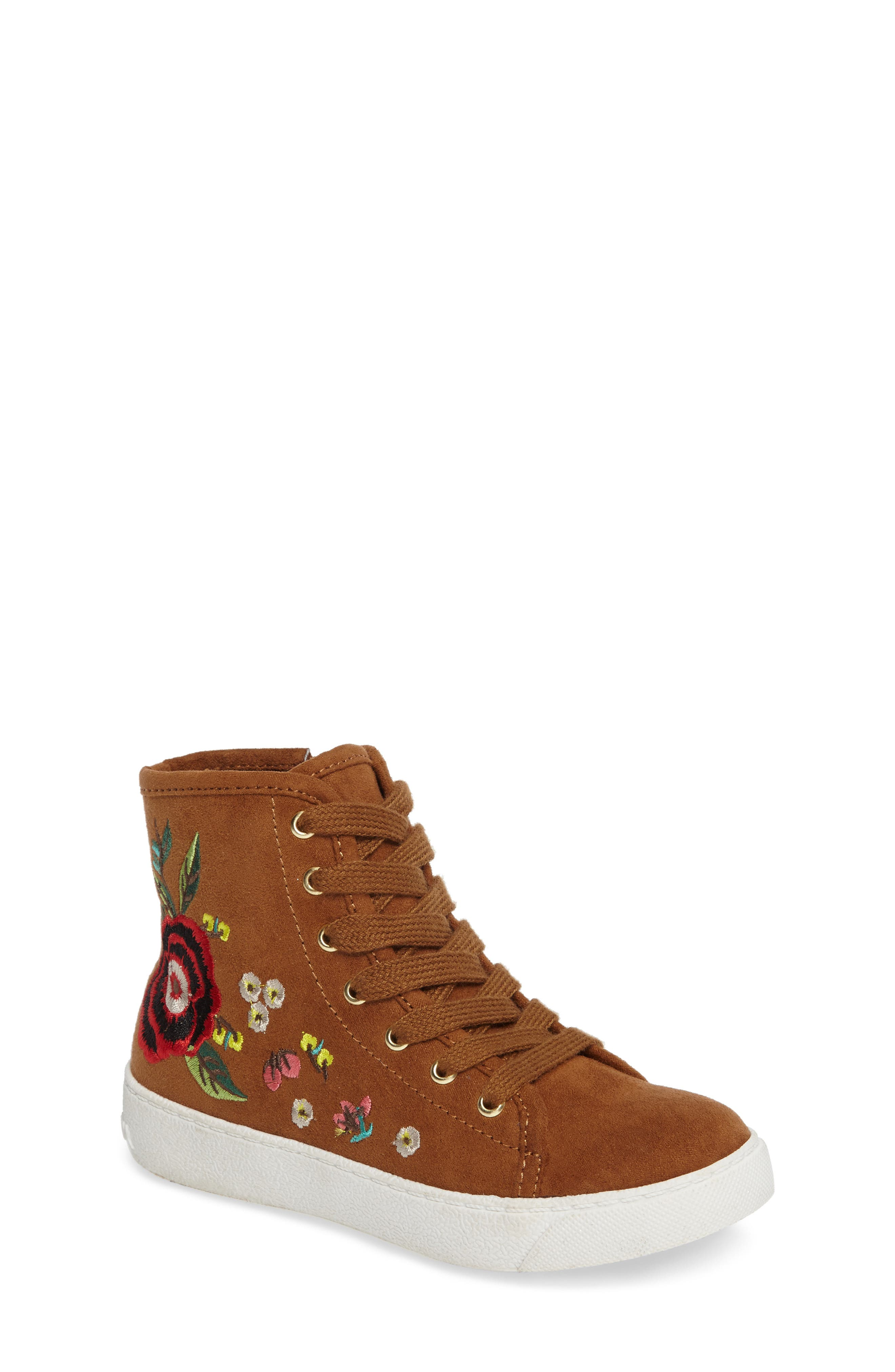 Harriet Embroidered High Top Sneaker,                         Main,                         color, Saddle Faux Leather