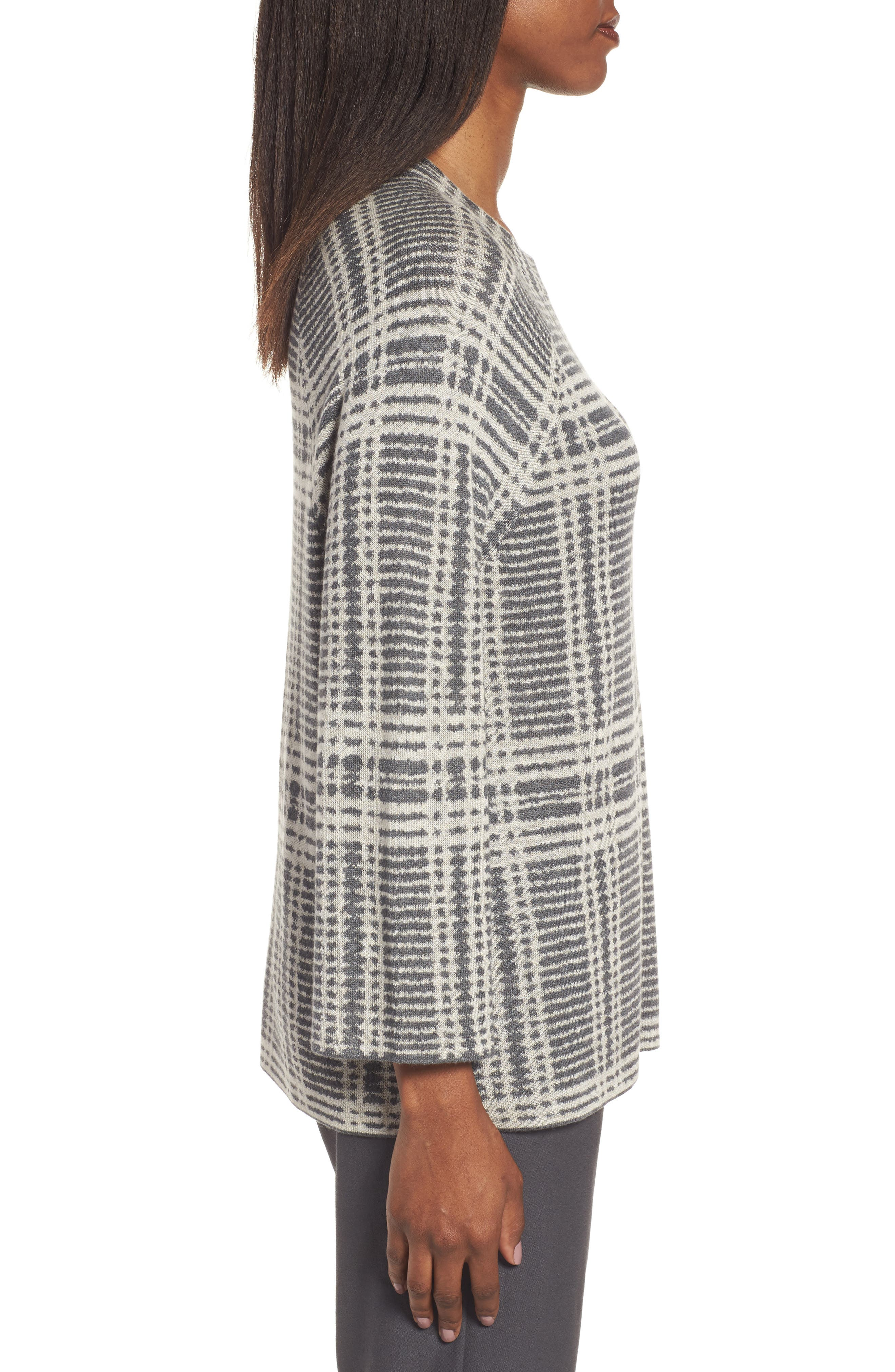 Alternate Image 3  - Eileen Fisher Plaid Tencel® & Wool Boxy Sweater