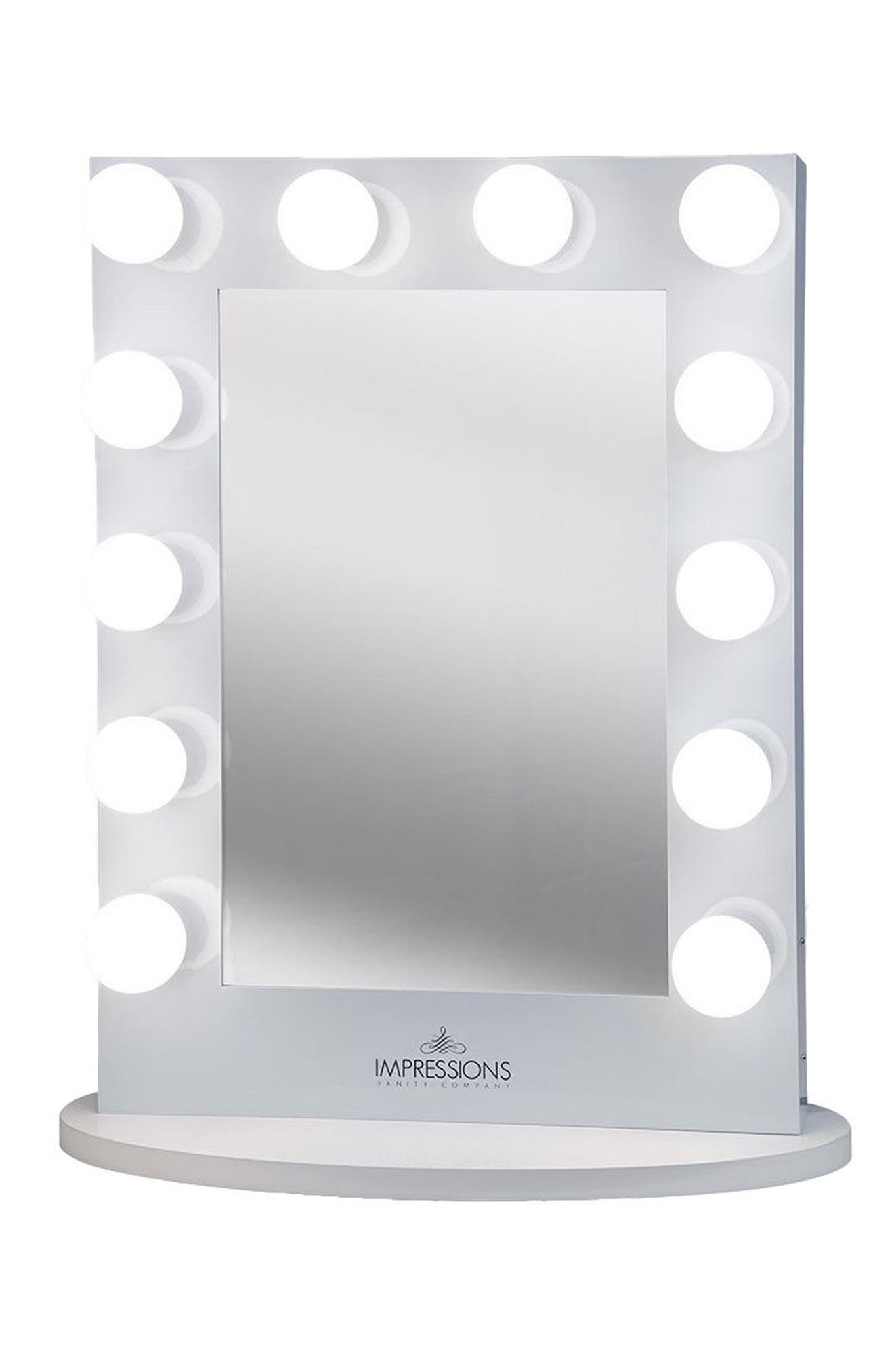 Hollywood Iconic<sup>™</sup> X-Large Vanity Mirror,                             Main thumbnail 1, color,                             White