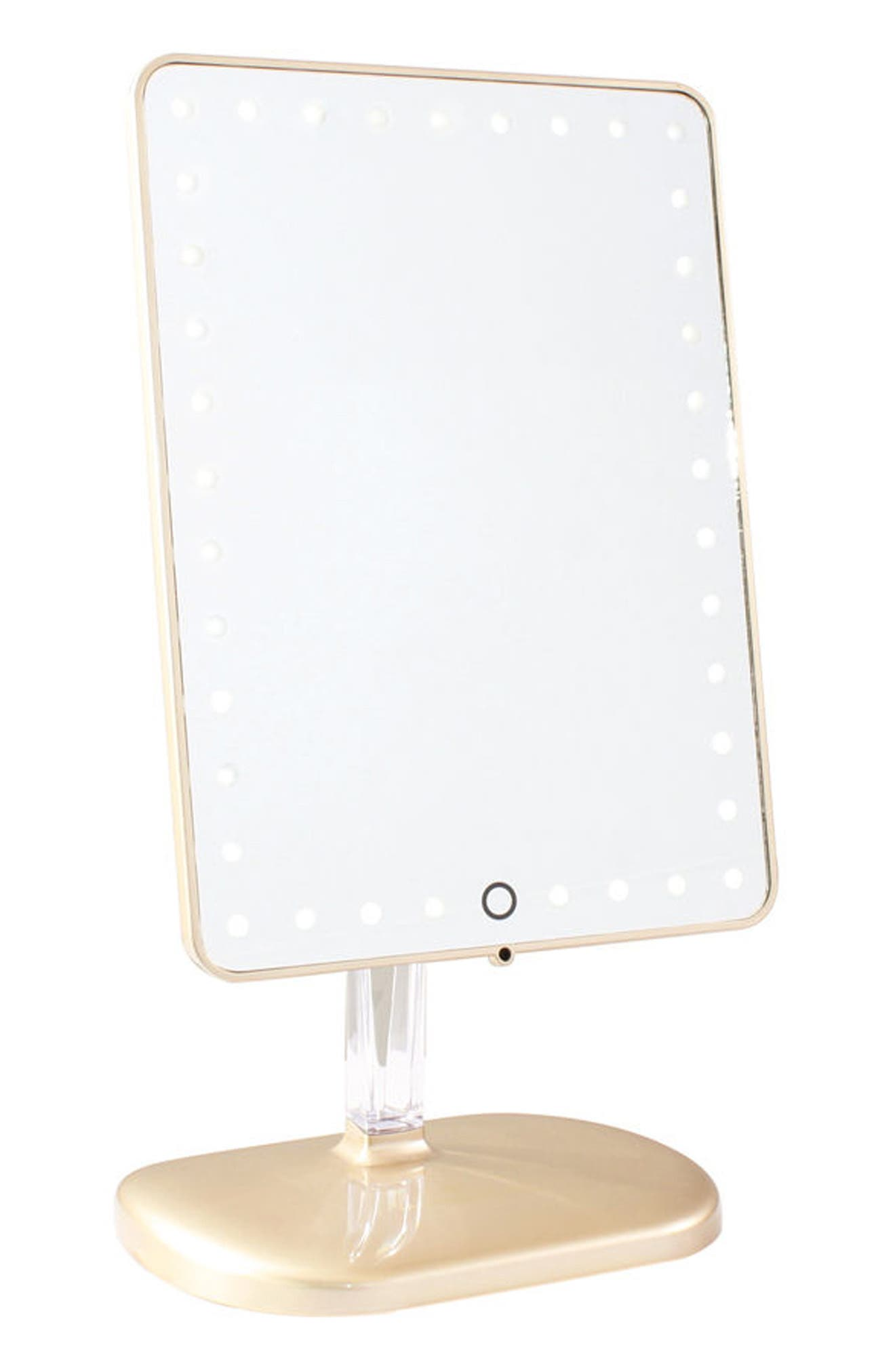 Bling Touch Pro LED Makeup Mirror with Bluetooth<sup>®</sup> Audio & Speakerphone,                             Main thumbnail 1, color,                             Glossy Champagne