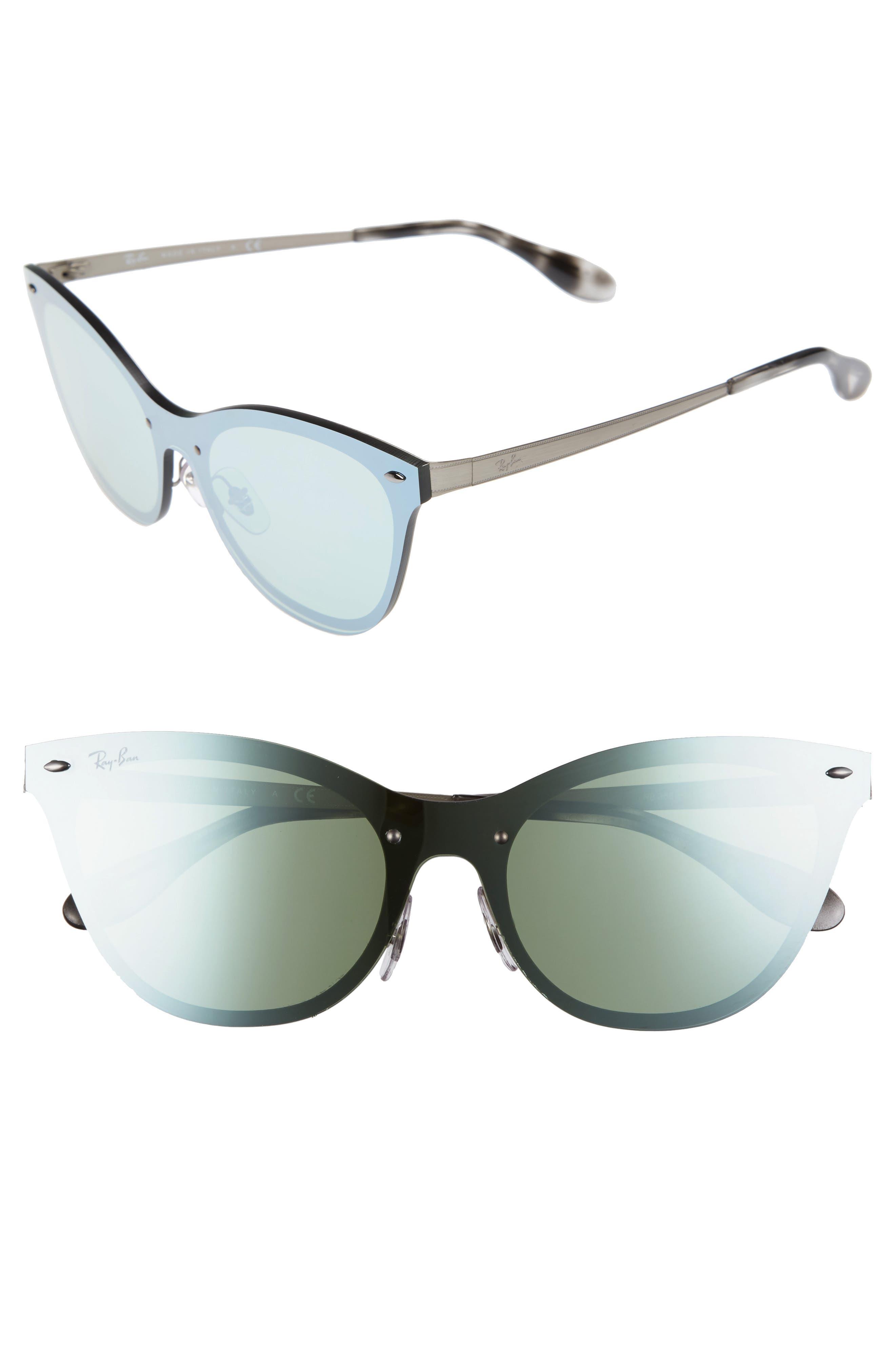50mm Blaze Clubmaster Mirrored Sunglasses,                         Main,                         color, Silver