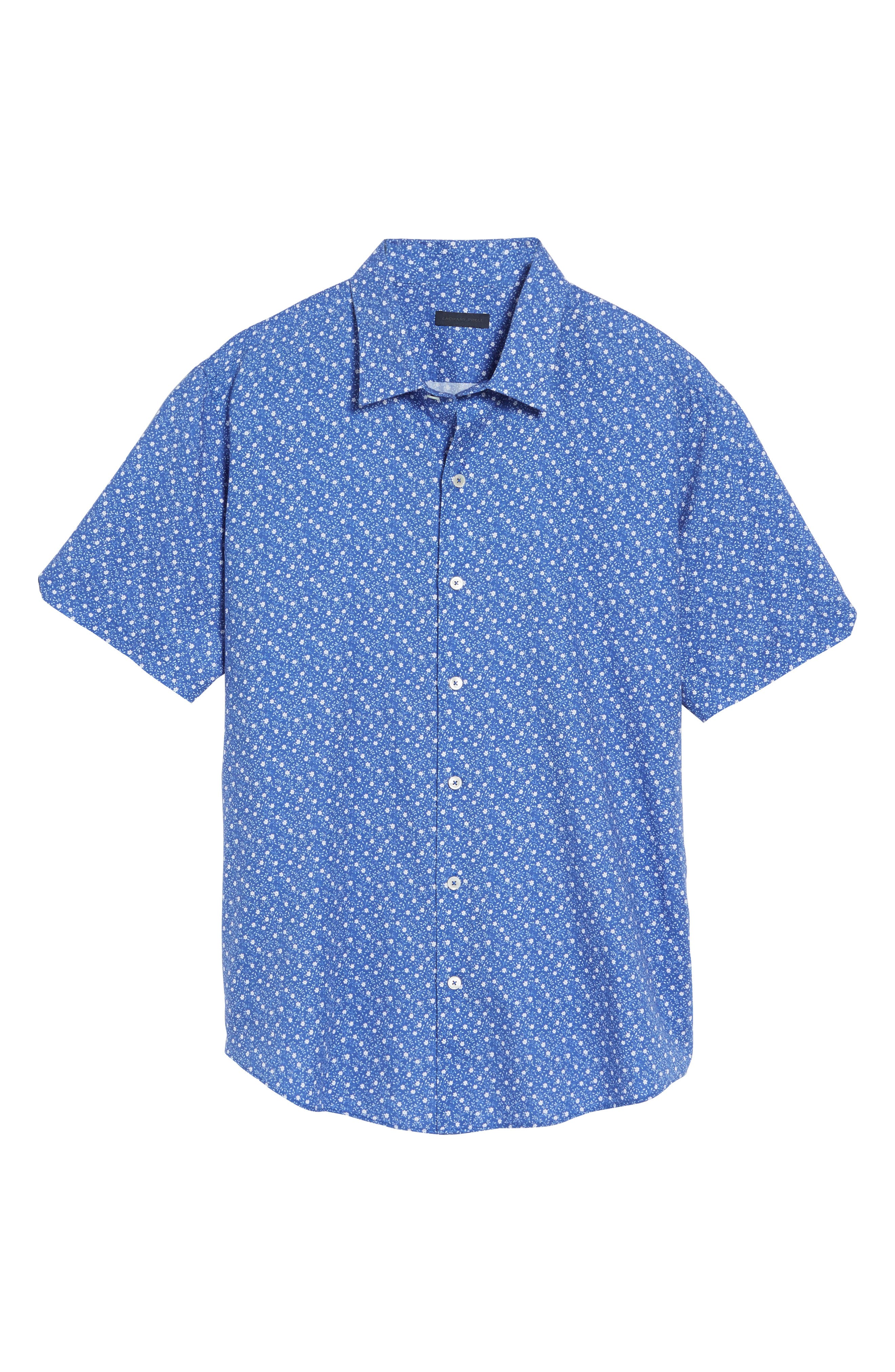 Floral Print Short Sleeve Sport Shirt,                             Alternate thumbnail 6, color,                             Blue