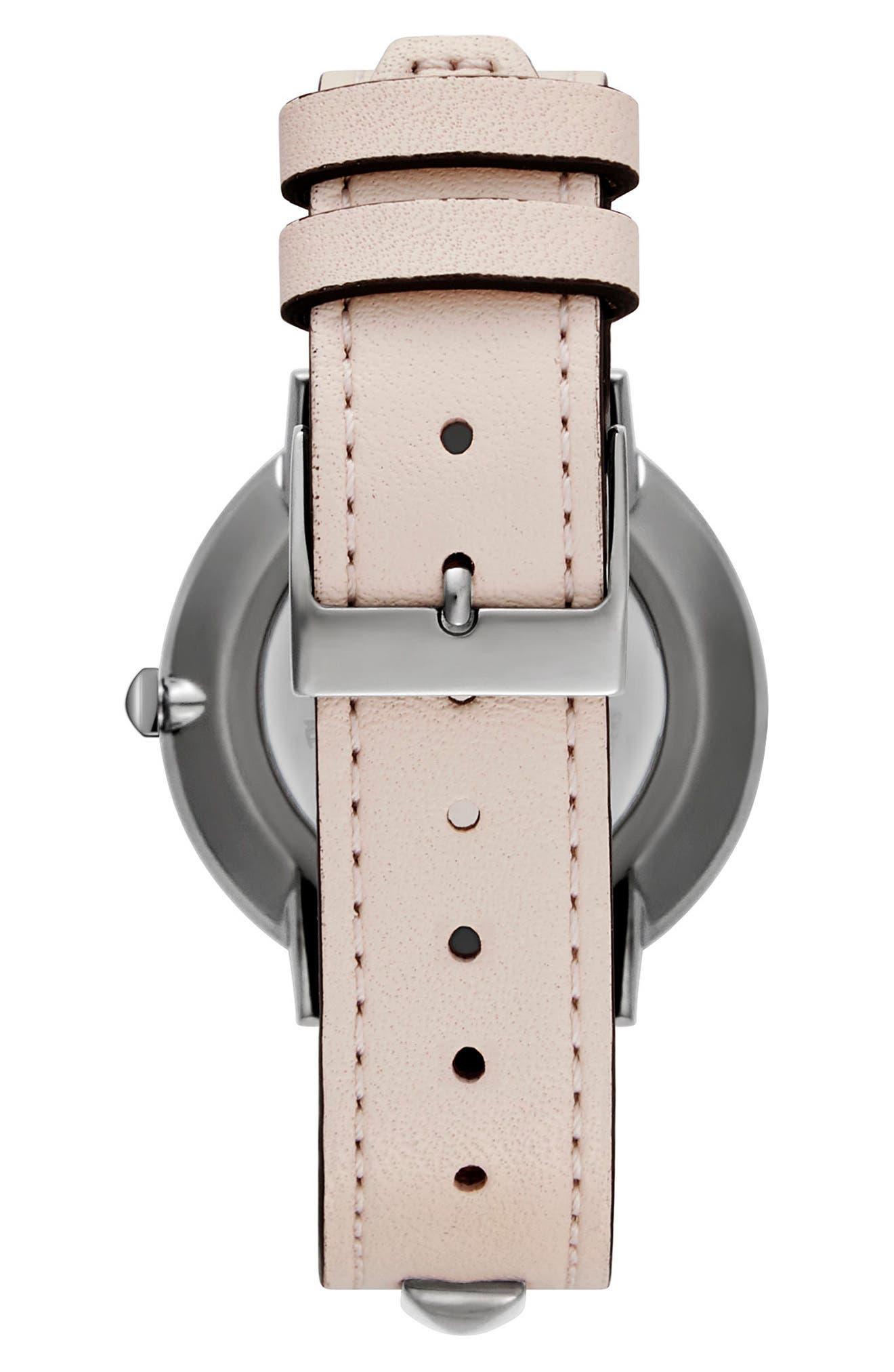 Major Stud Leather Strap Watch, 35mm,                             Alternate thumbnail 2, color,                             Soft Blush/ Gunmetal