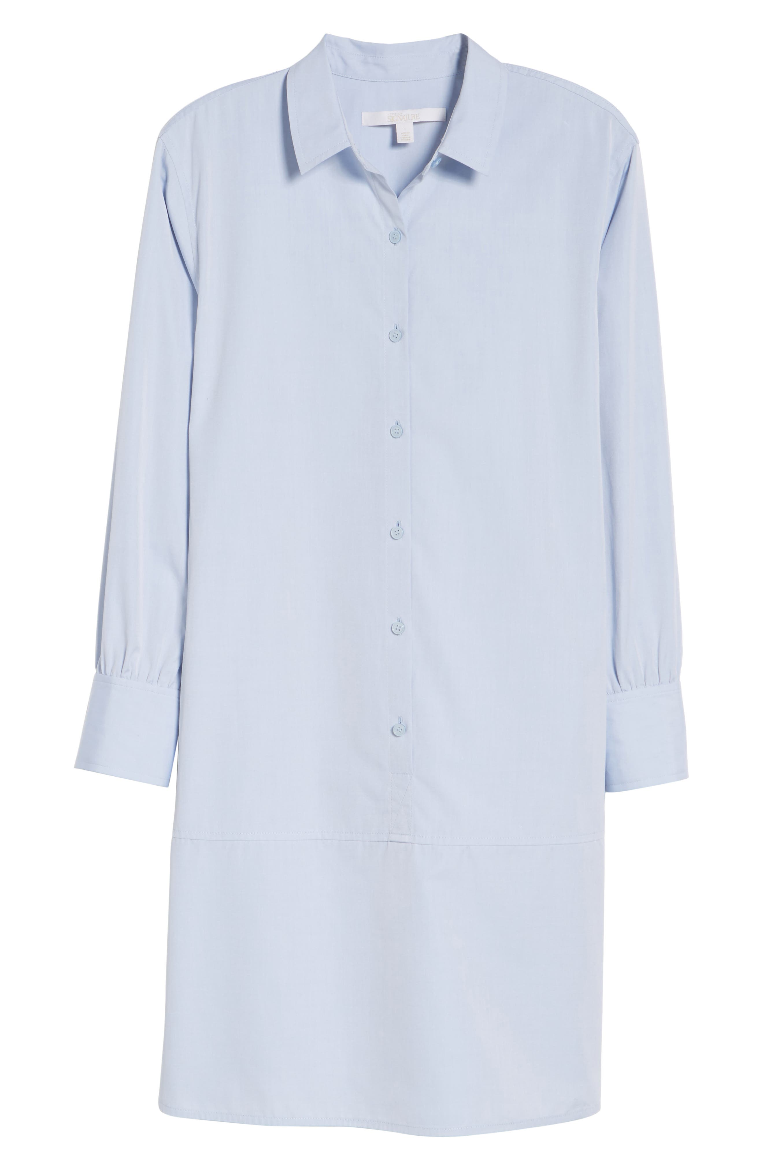 Alternate Image 6  - Nordstrom Signature Solid Poplin Shirtdress