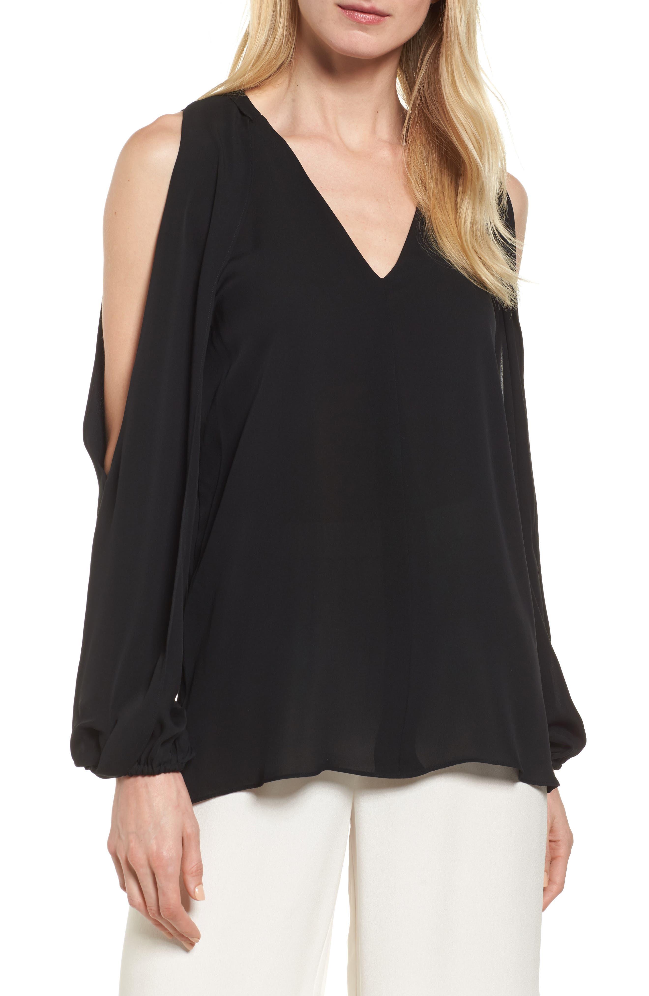 Caroline Cold Shoulder Silk Blouse,                         Main,                         color, Black