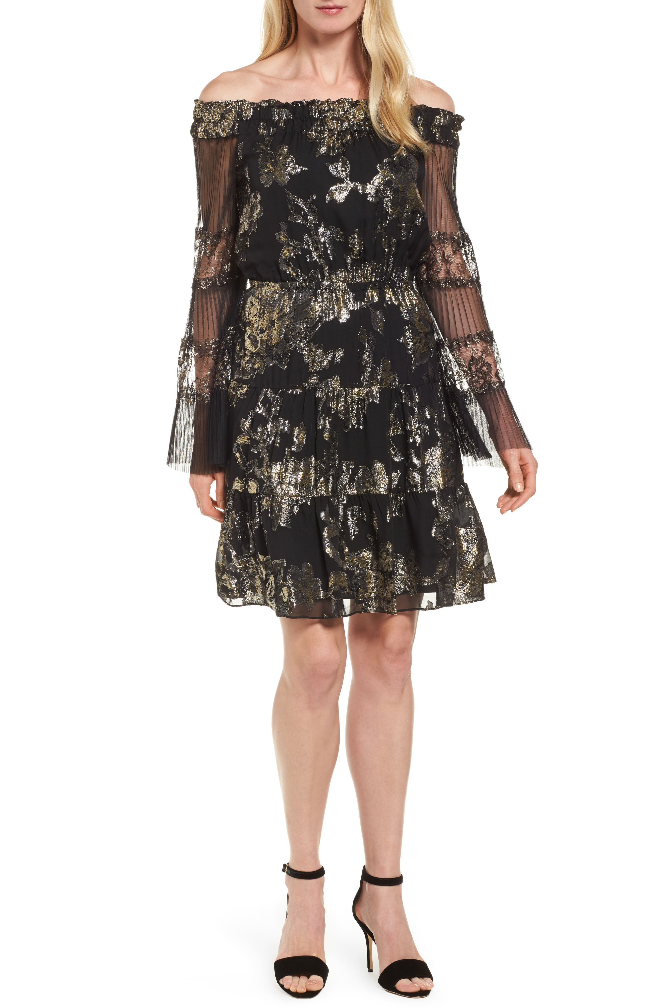 Kobi Halperin Ainsley Metallic Jacquard Off the Shoulder Dress