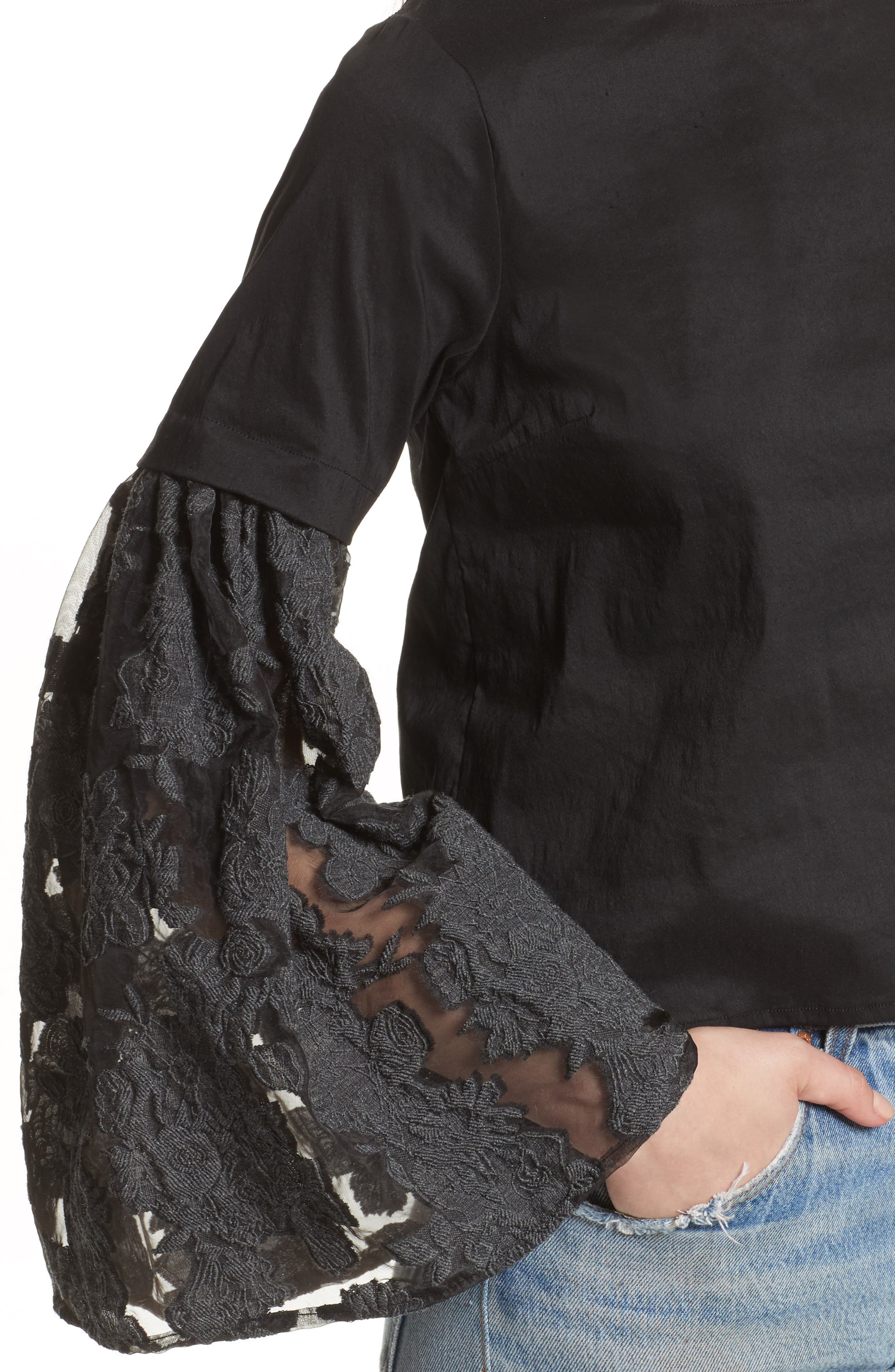 Alternate Image 4  - Sea Lace Lace-Up Back Bell Sleeve Blouse