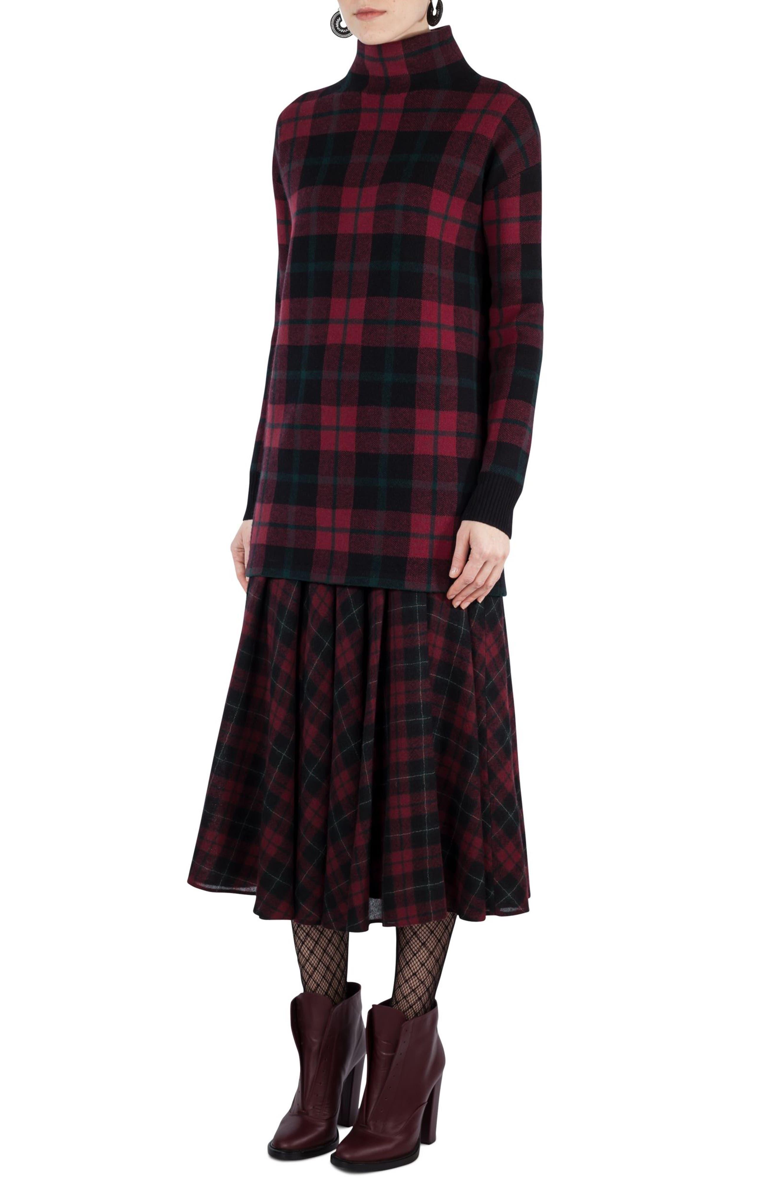 AKRIS PUNTO Plaid Wool & Cashmere Tunic Pullover