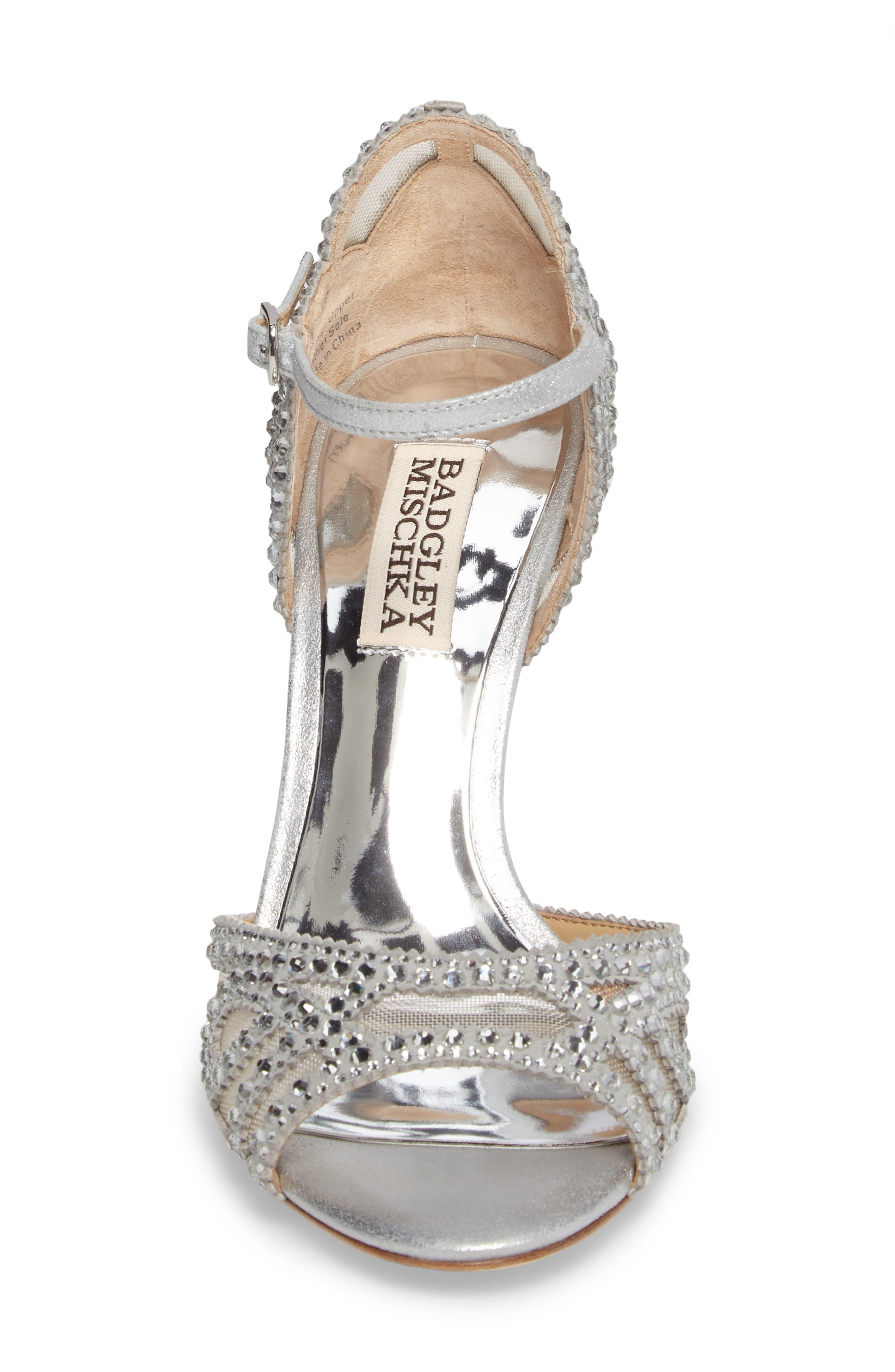Embellished Mesh Sandal,                             Alternate thumbnail 4, color,                             Silver Metallic Suede