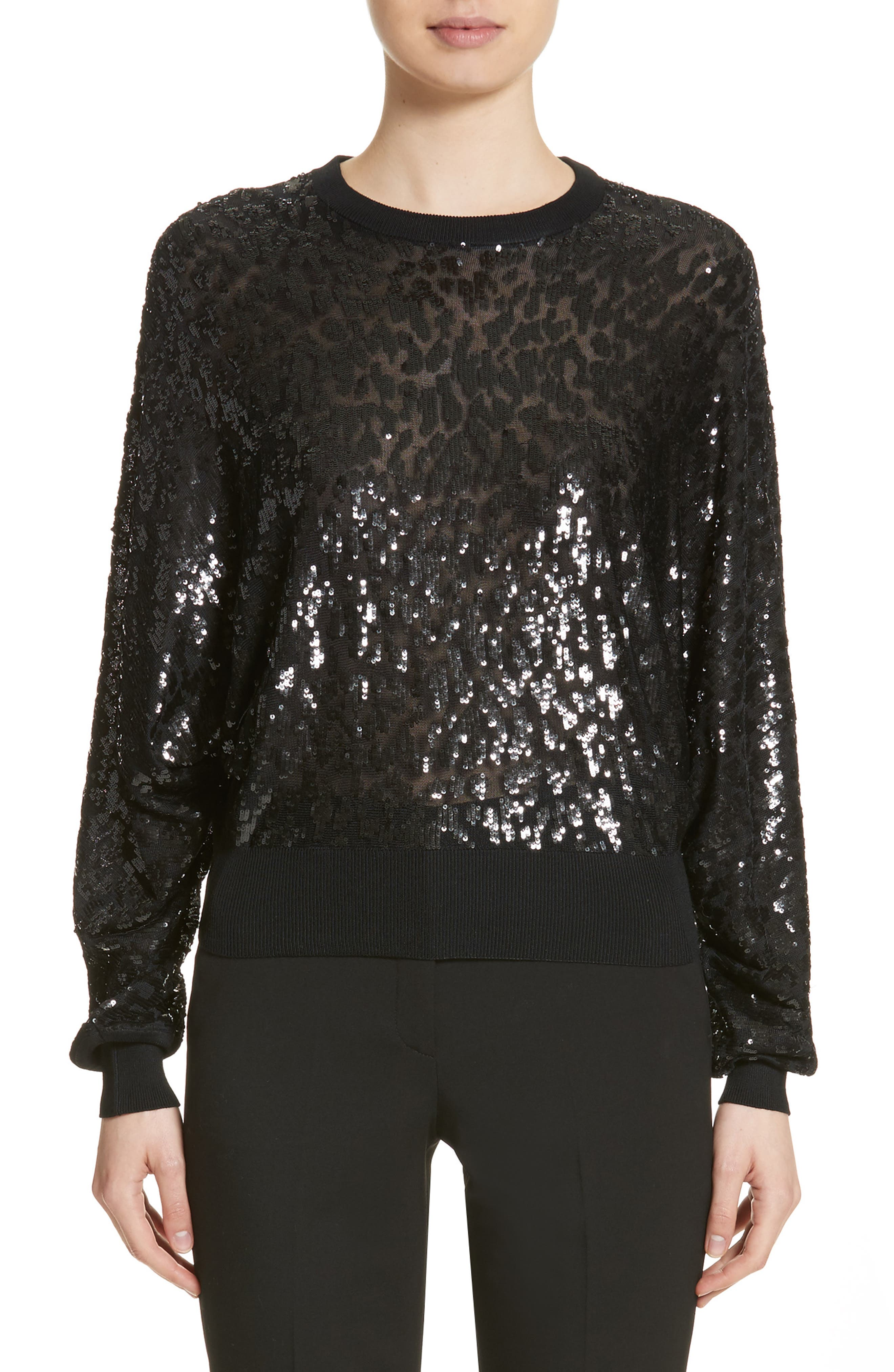 Sequined Tulle Leopard Sweater,                             Main thumbnail 1, color,                             Black/ Black
