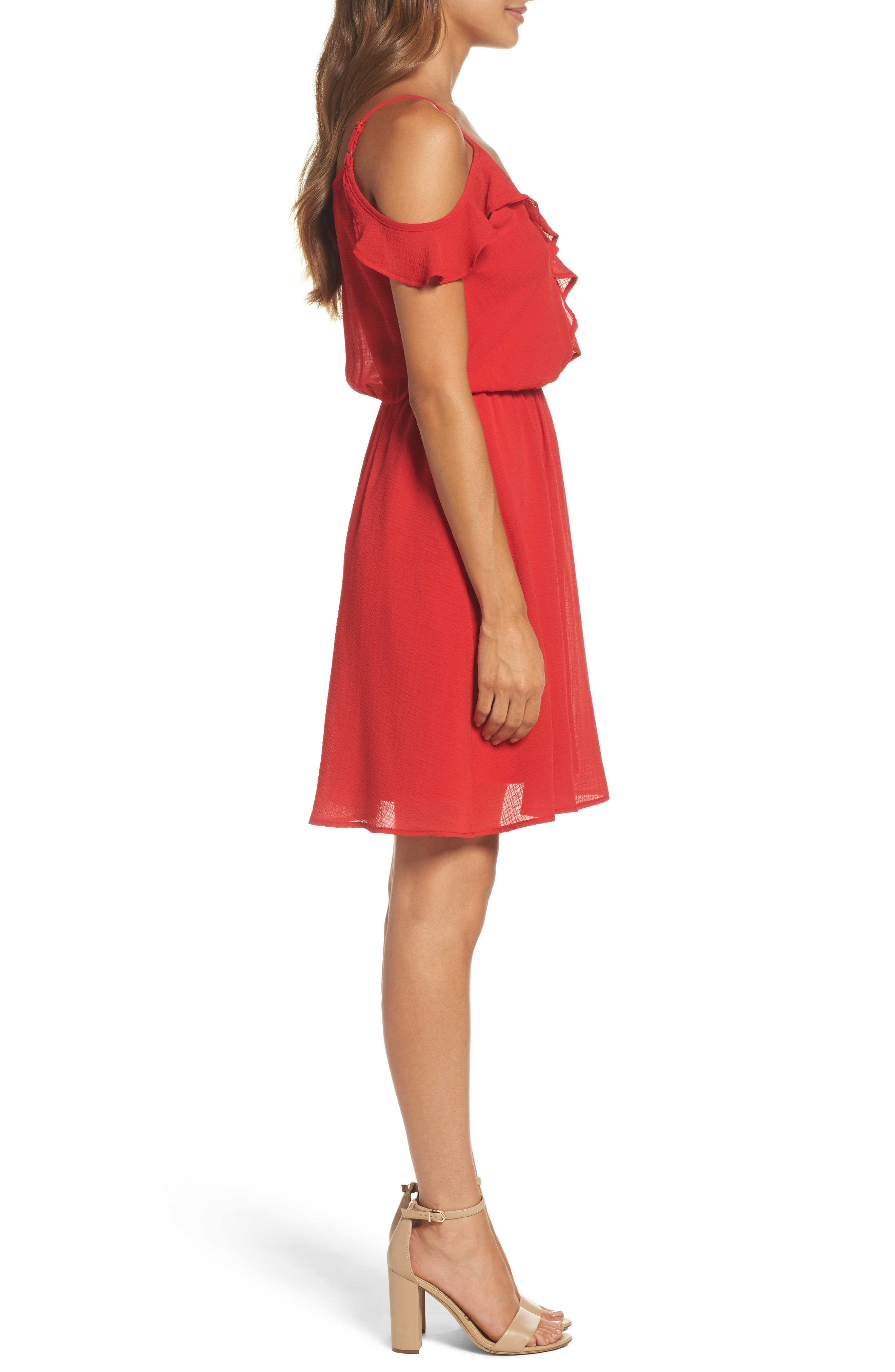 Ruffle Cold Shoulder Dress,                             Alternate thumbnail 3, color,                             Tomato