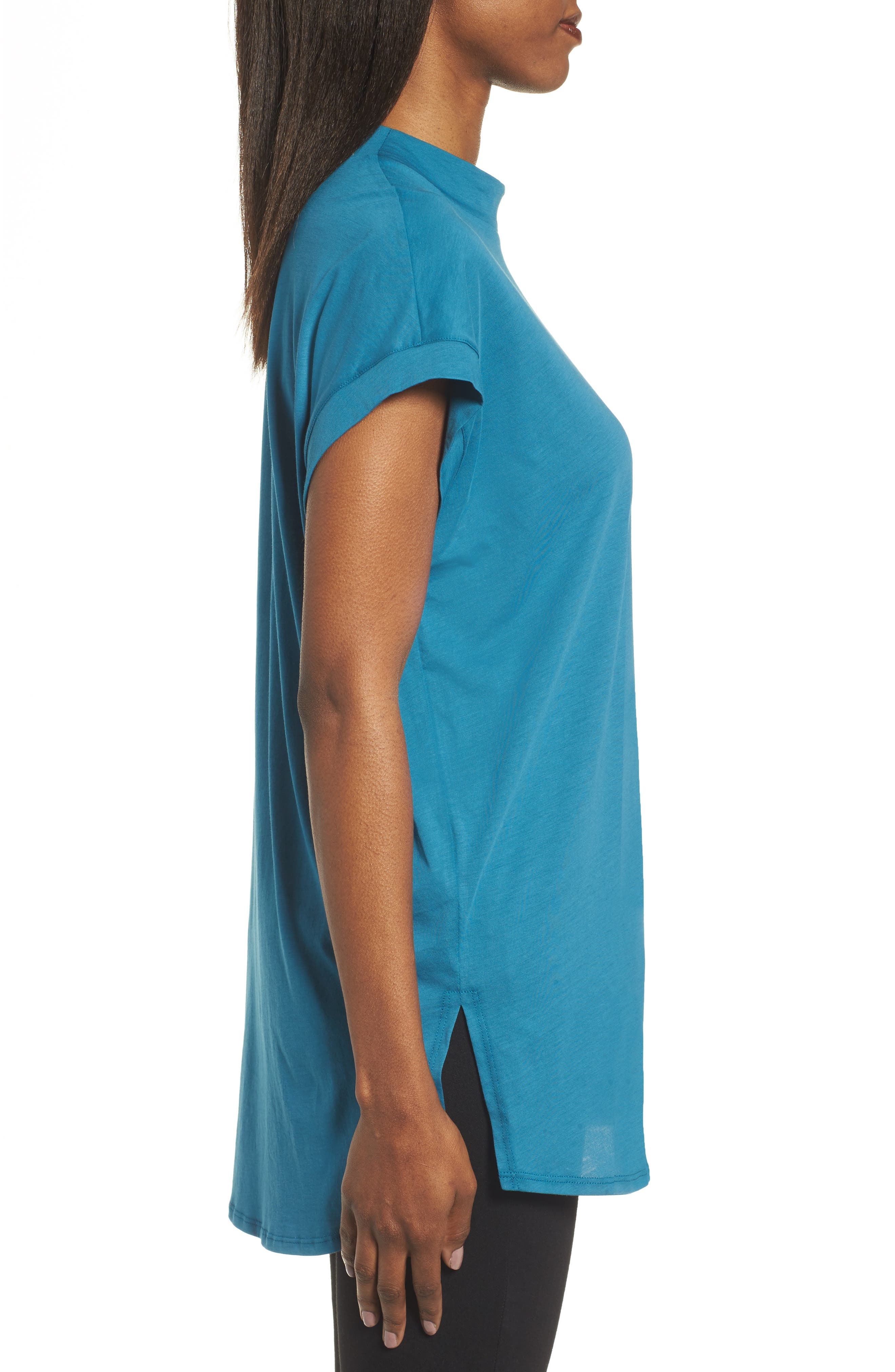 Slub Organic Cotton Top,                             Alternate thumbnail 3, color,                             Nile