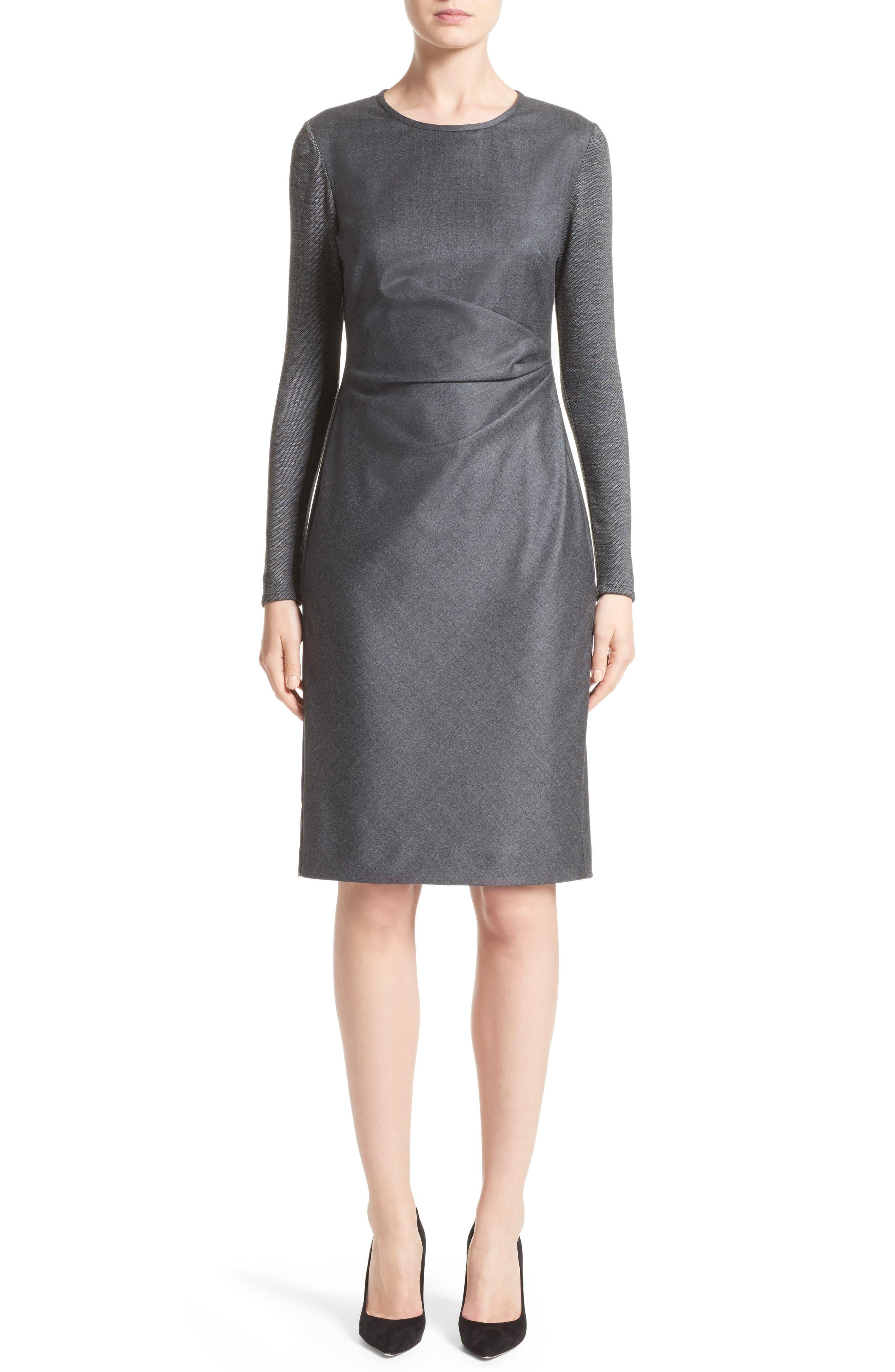 Ragazza Gathered Wool Dress,                             Main thumbnail 1, color,                             Dark Grey