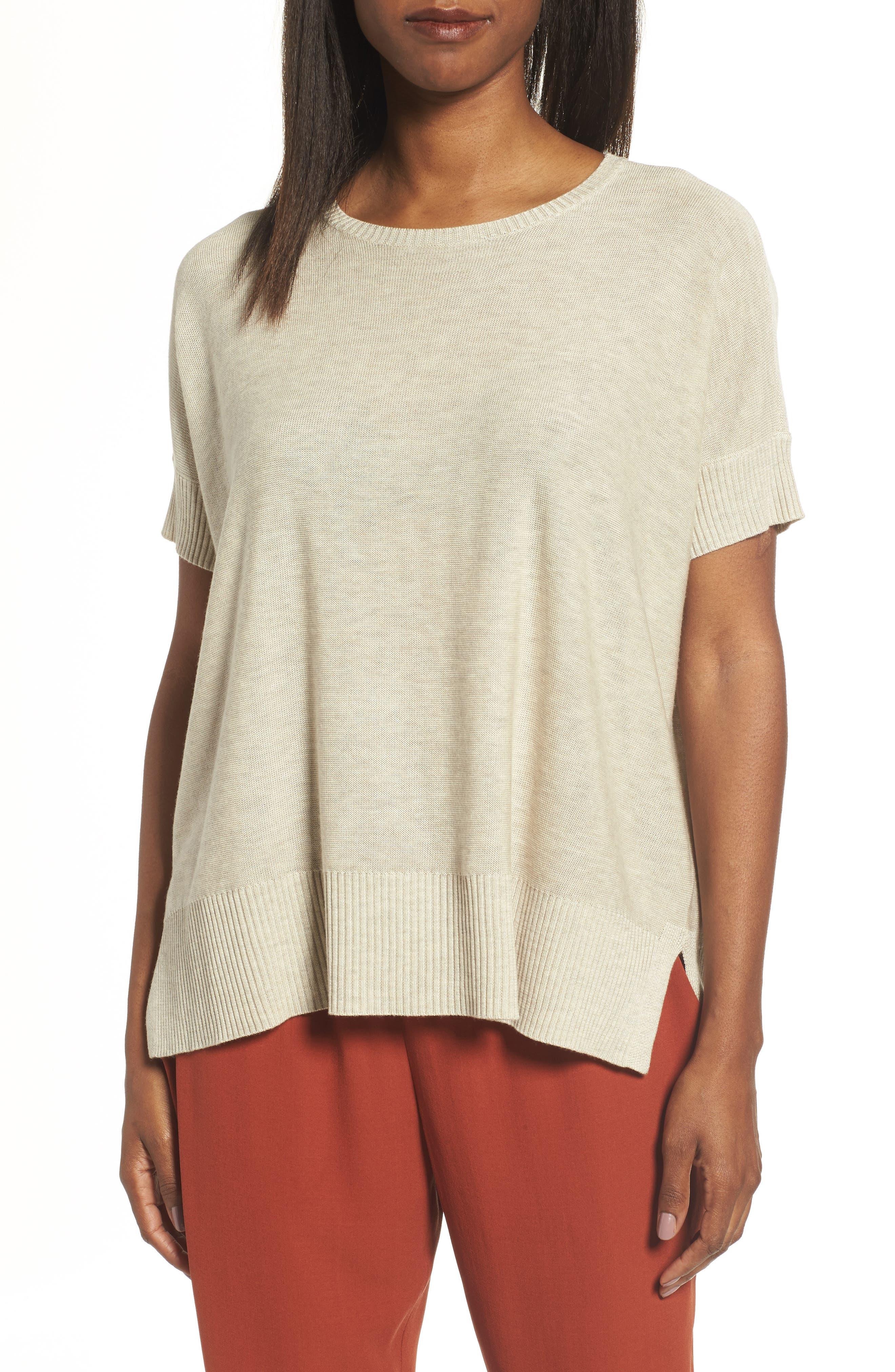 Alternate Image 1 Selected - Eileen Fisher Tencel® & Merino Wool Top
