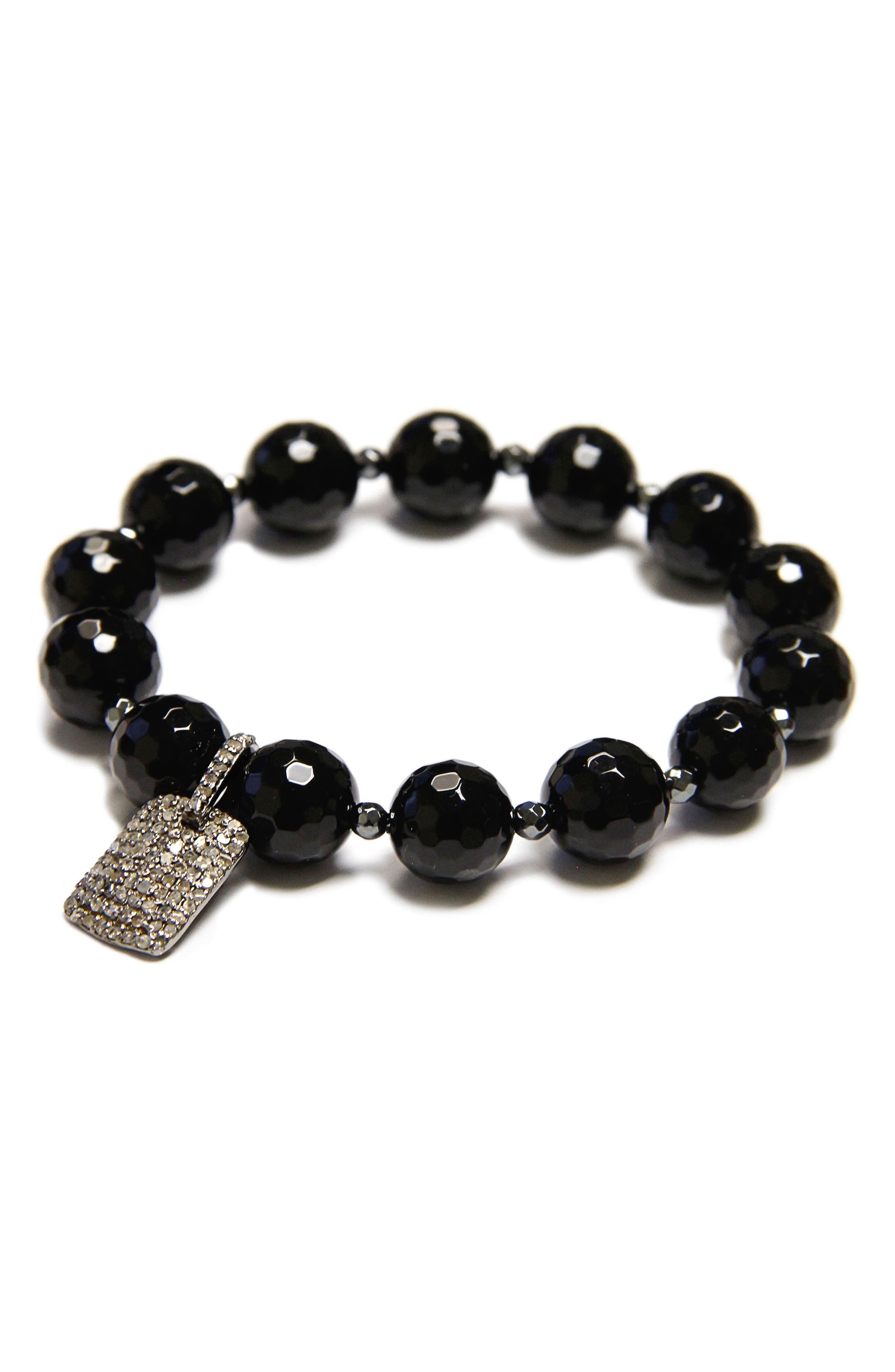 Jane Basch Bead Stretch Bracelet,                         Main,                         color, Onyx/ Hematite