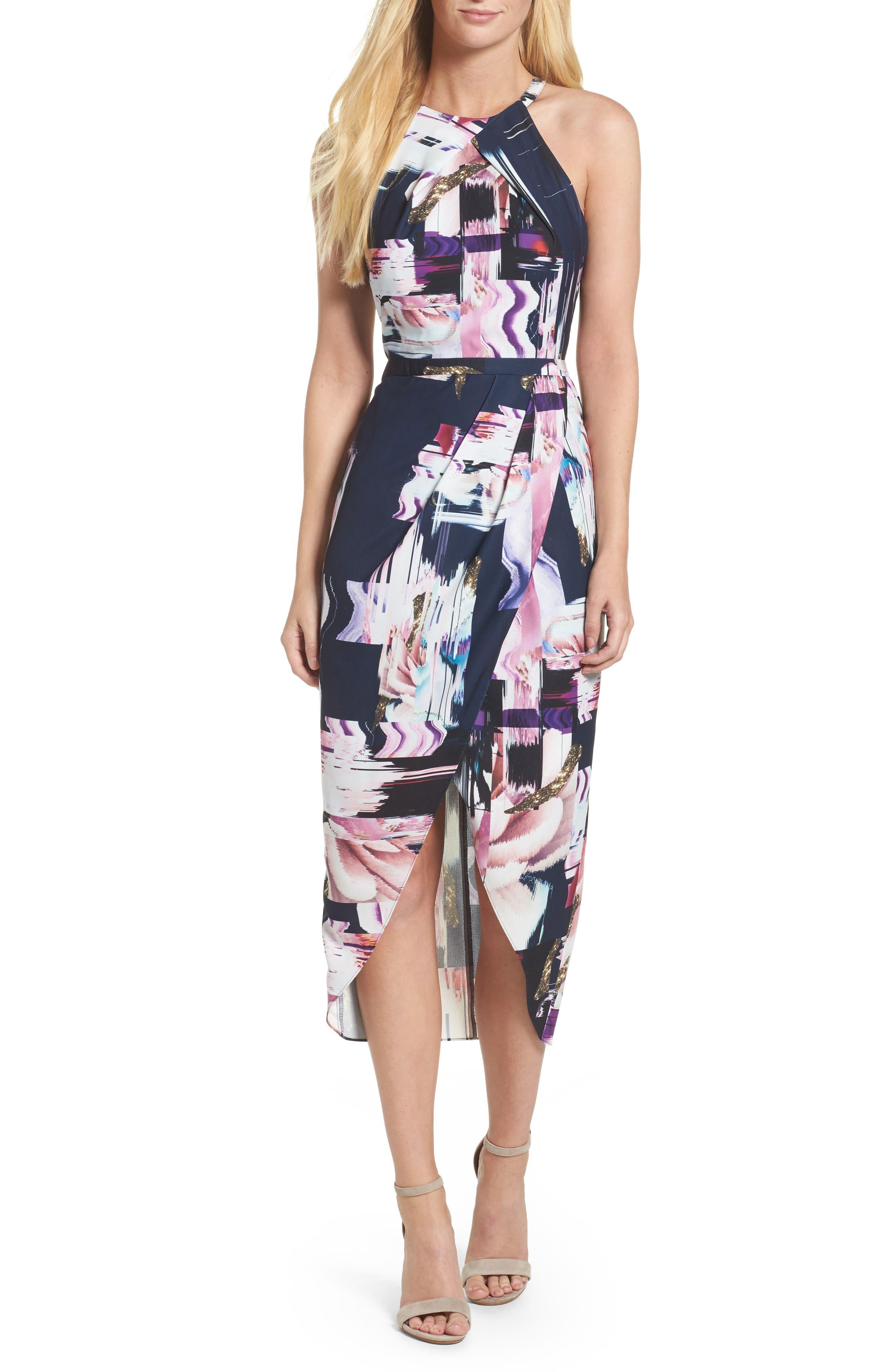 Floral Faux Wrap Dress,                         Main,                         color, Navy Watercolor Print