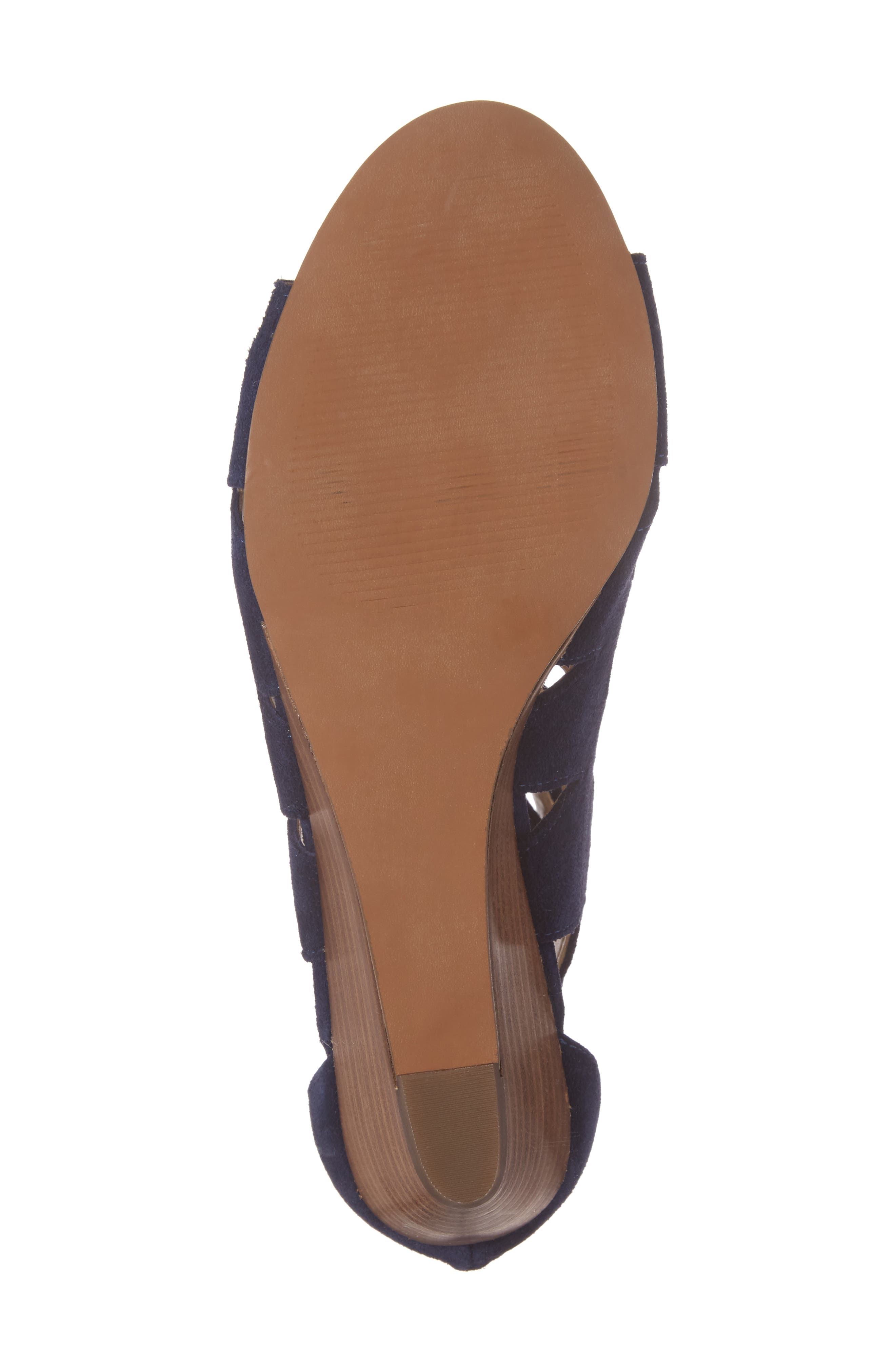 'Freyaa' Wedge Sandal,                             Alternate thumbnail 6, color,                             Navy Suede