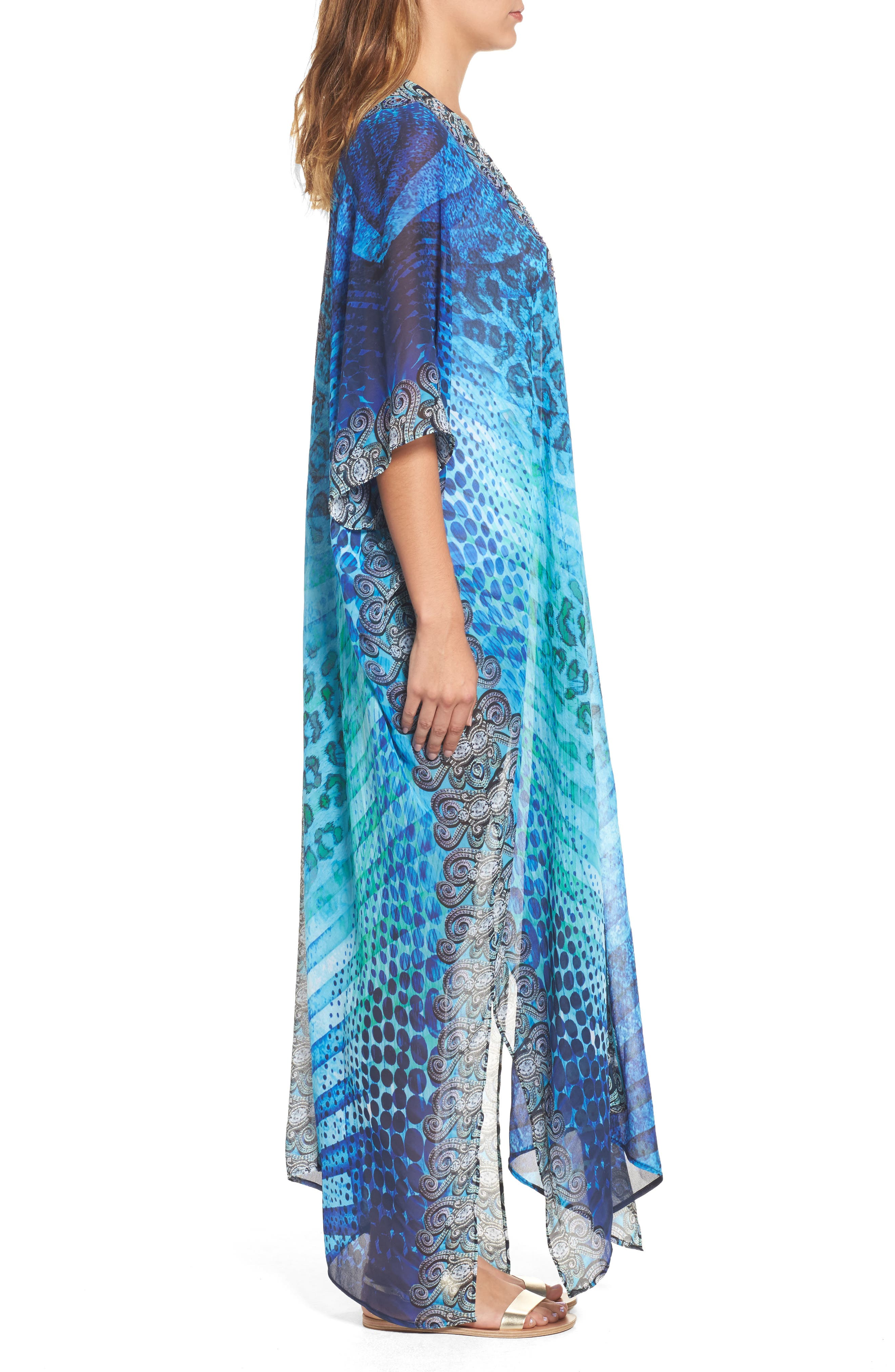 Santorini Desert Long Kaftan,                             Alternate thumbnail 3, color,                             Blue
