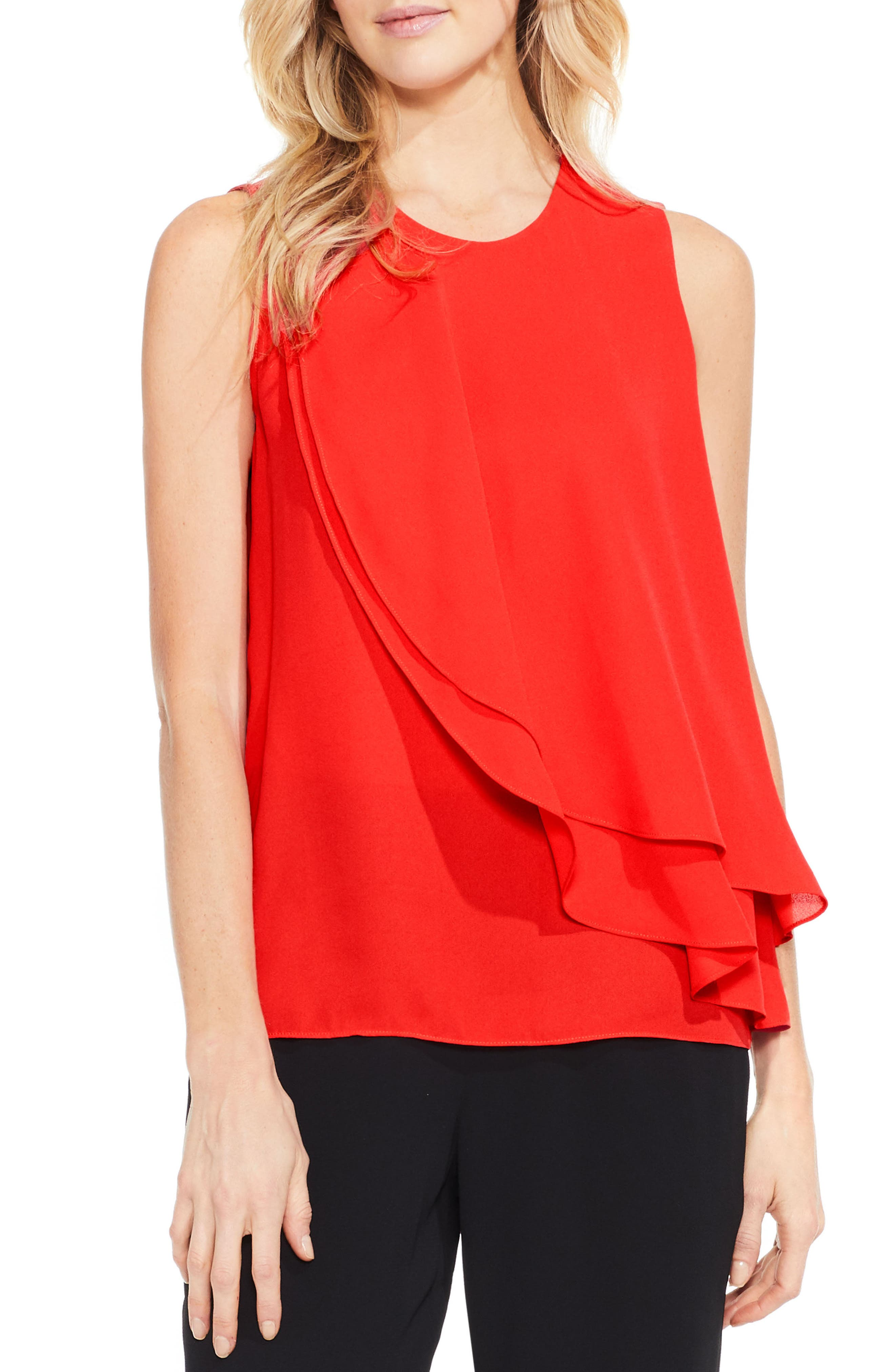 Vince Camuto Double Layer Front Blouse (Regular & Petite)