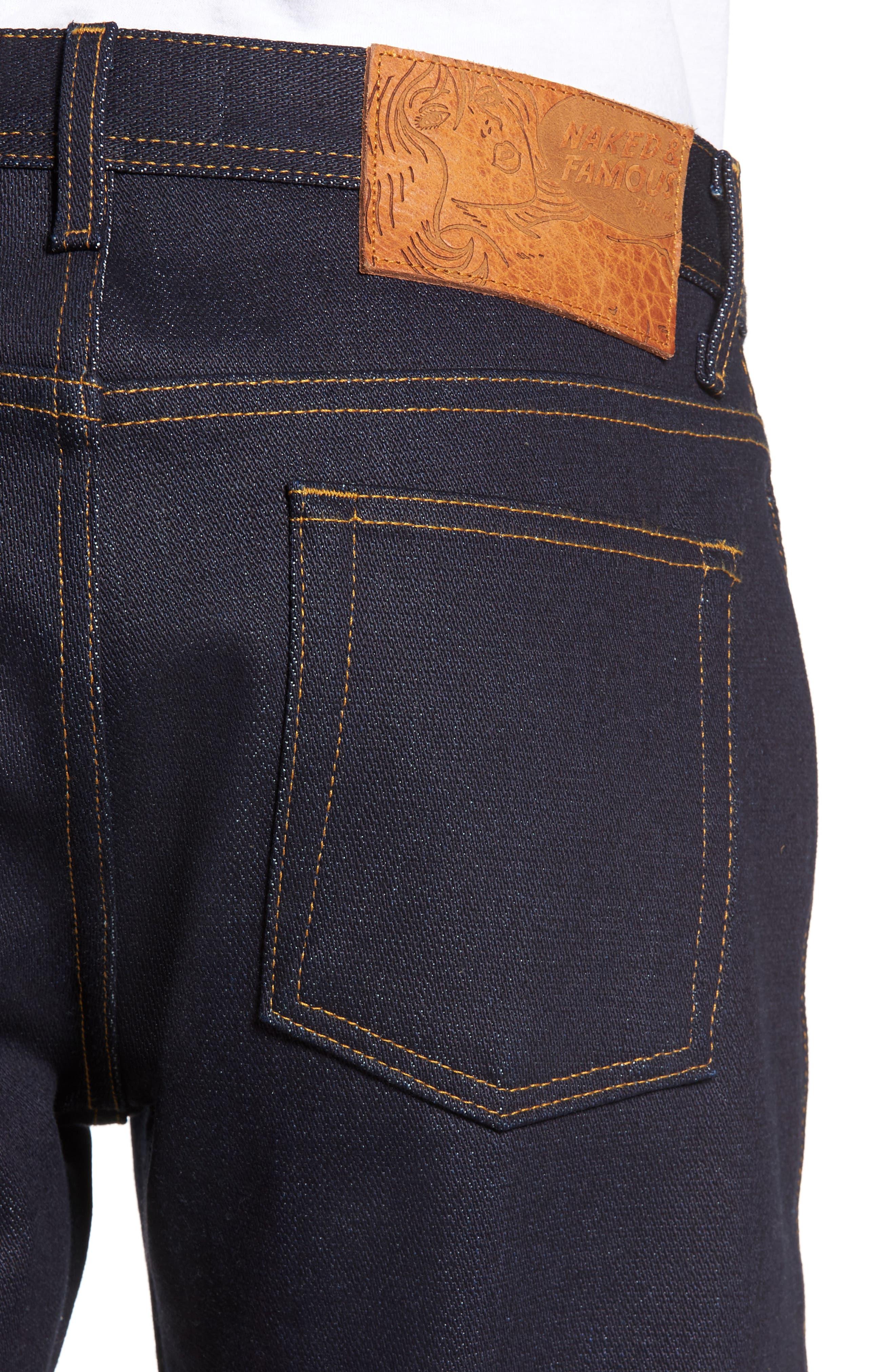 Alternate Image 4  - Naked & Famous Denim Weird Guy Slim Fit Jeans (Elephant 6)