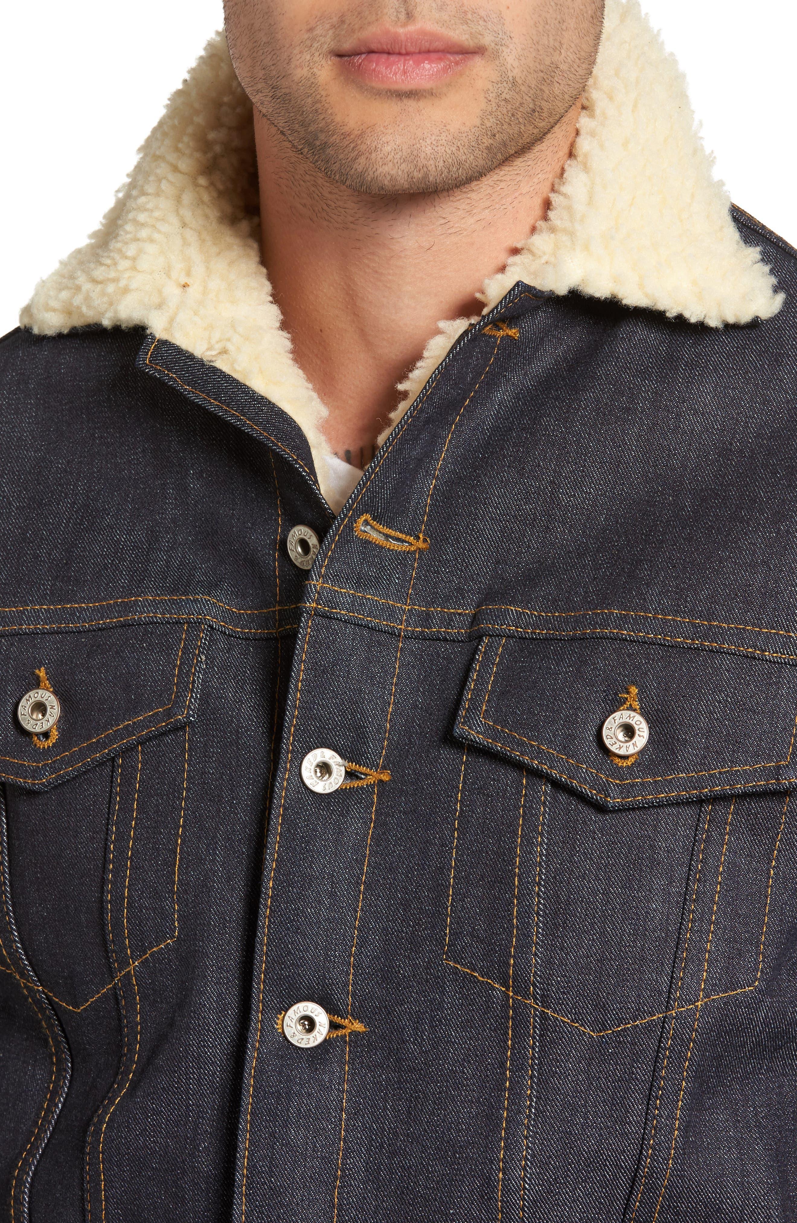 Alternate Image 4  - Naked & Famous Denim Faux Shearling Denim Jacket