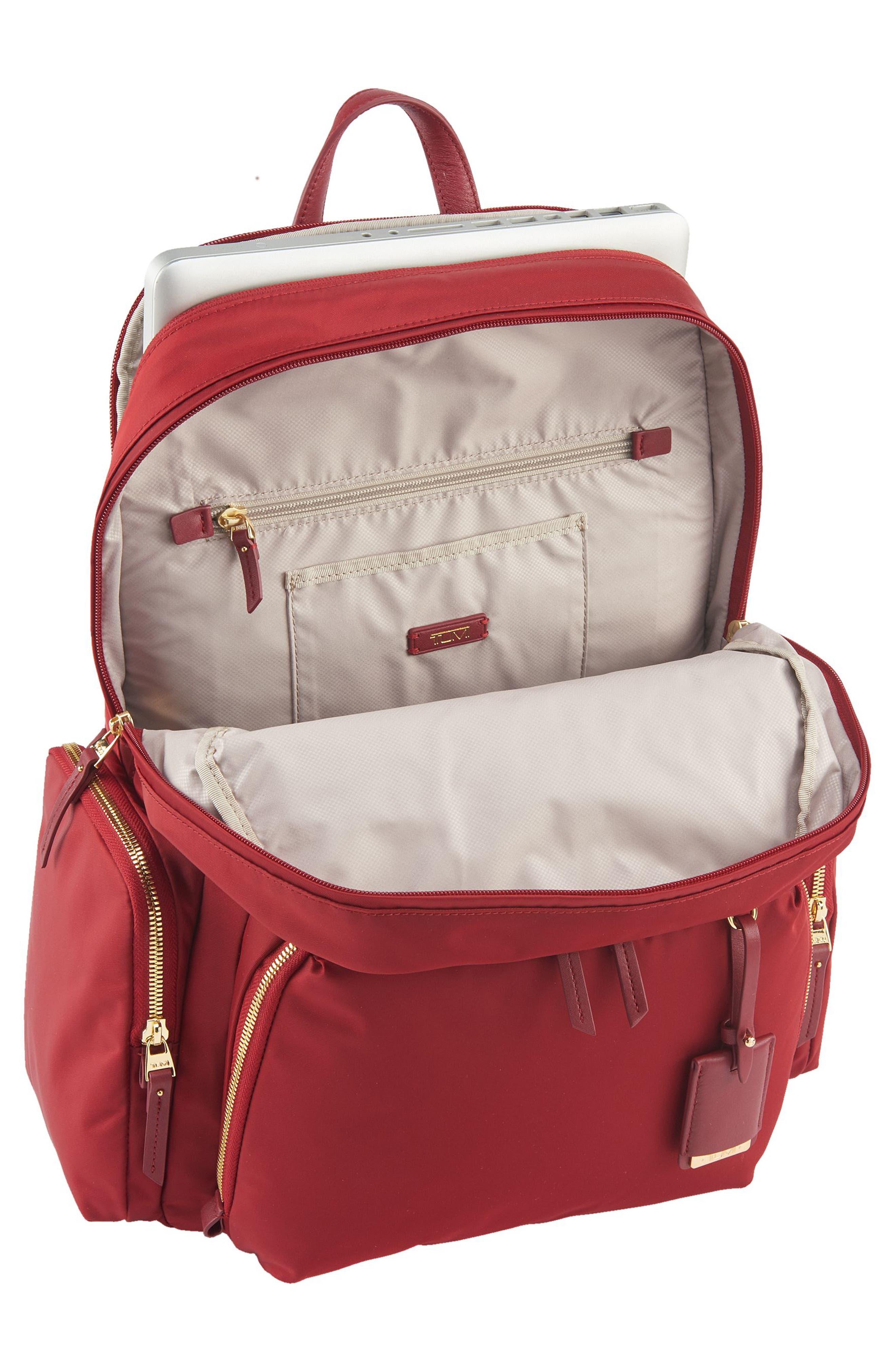 Calais Nylon 15-Inch Computer Commuter Backpack,                             Alternate thumbnail 4, color,                             Crimson