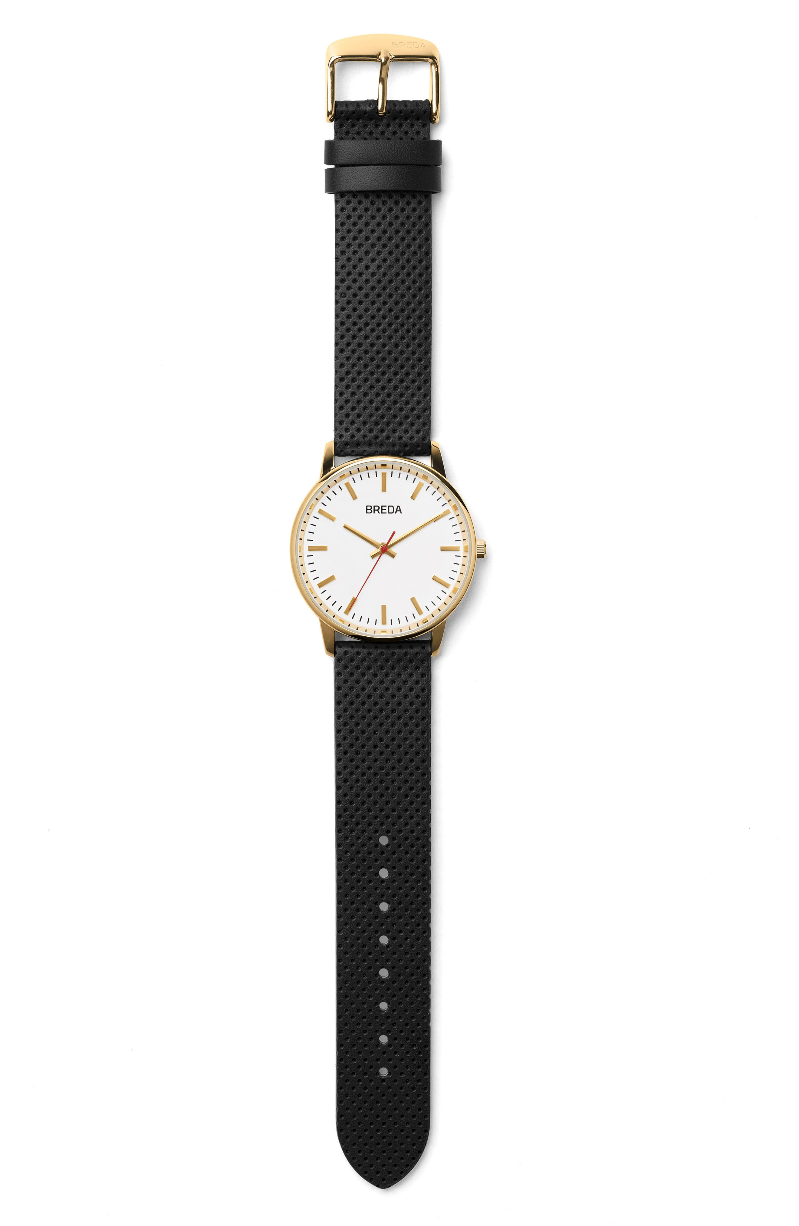 Round Perforated Leather Strap Watch, 39mm,                             Alternate thumbnail 2, color,                             White/ Black