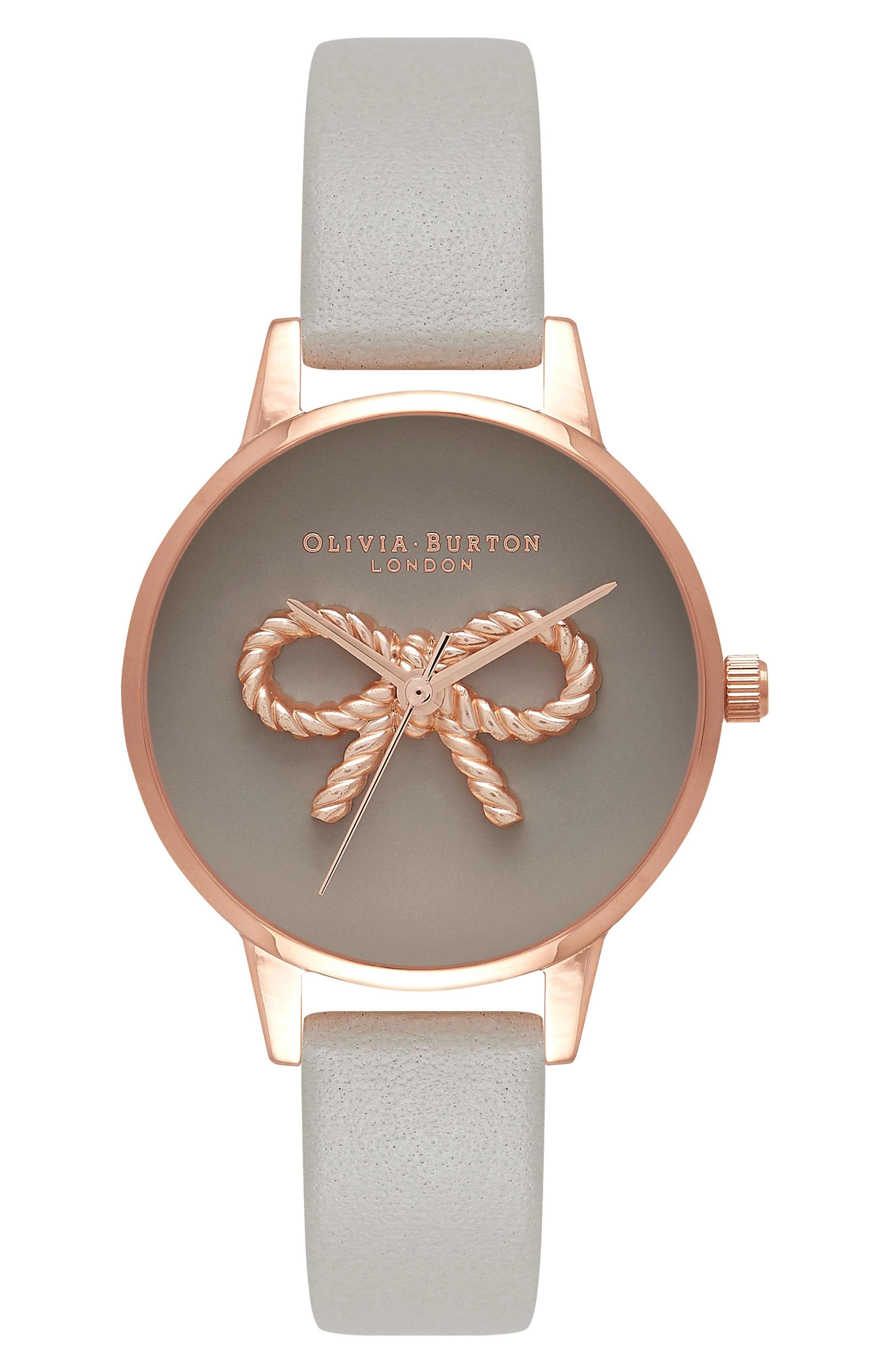 Olivia Burton Vintage Bow Leather Strap Watch, 30mm