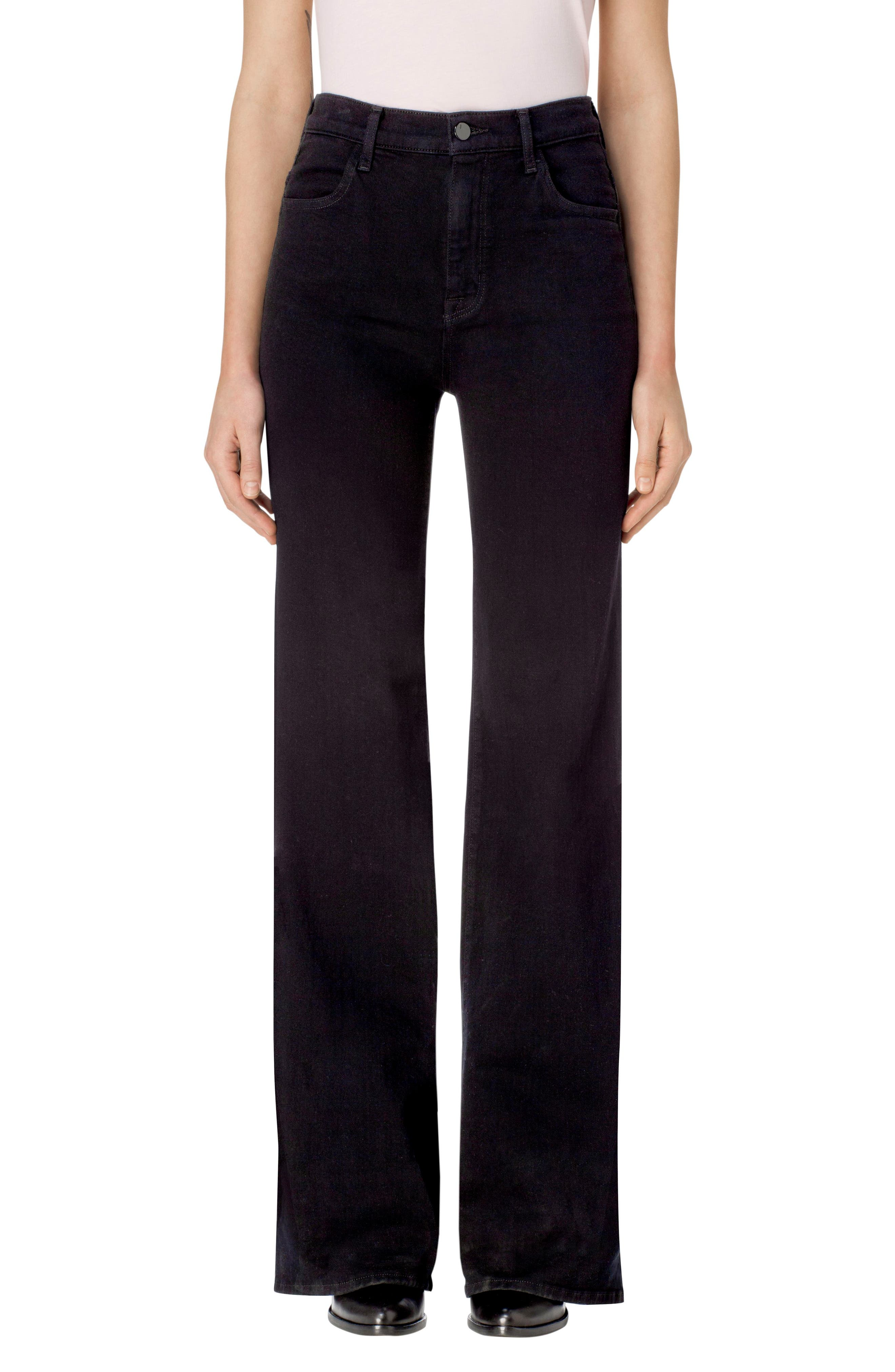 Joan High Waist Wide Leg Jeans,                             Main thumbnail 1, color,                             Pitch Black