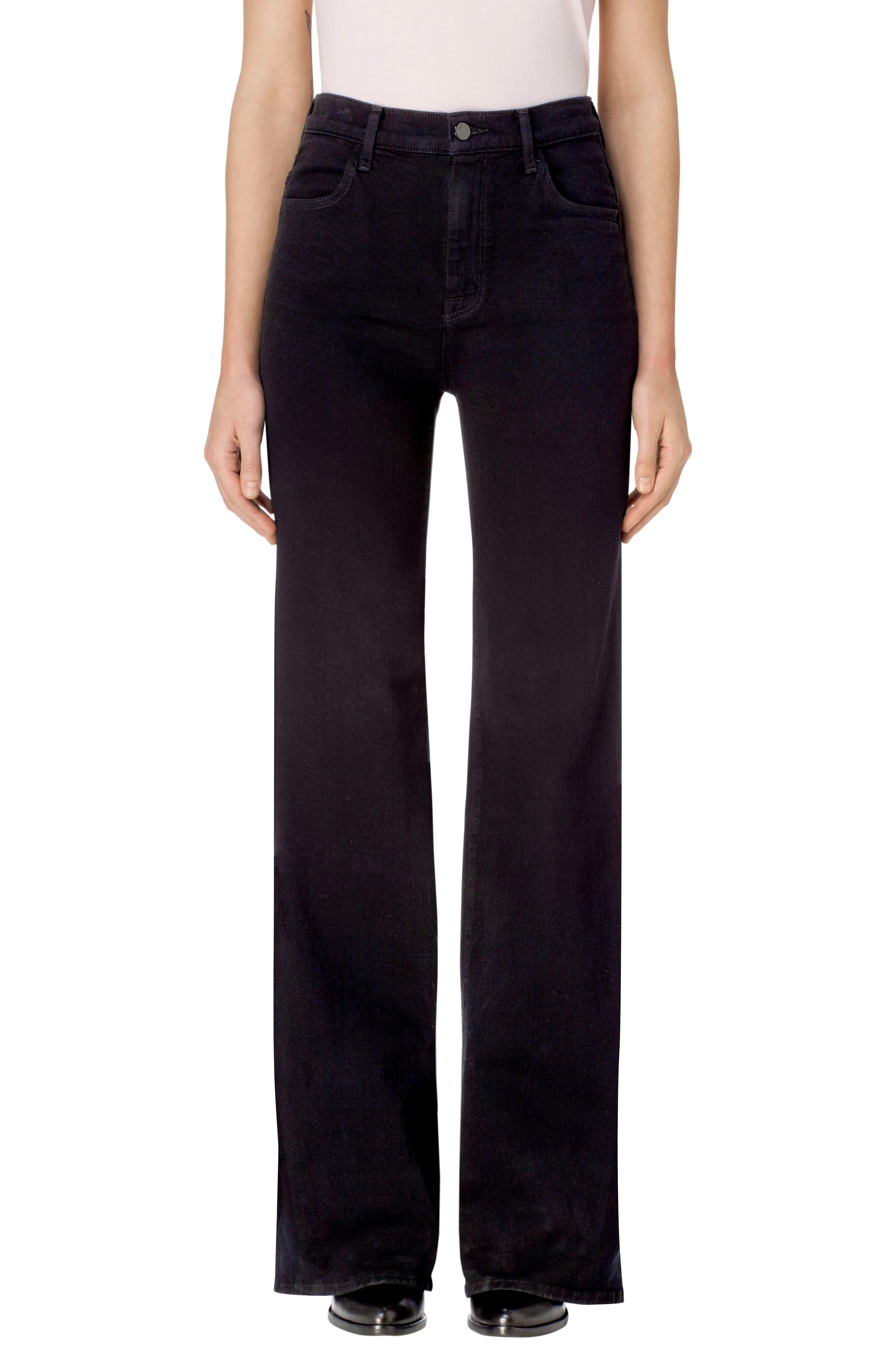 Joan High Waist Wide Leg Jeans,                         Main,                         color, Pitch Black
