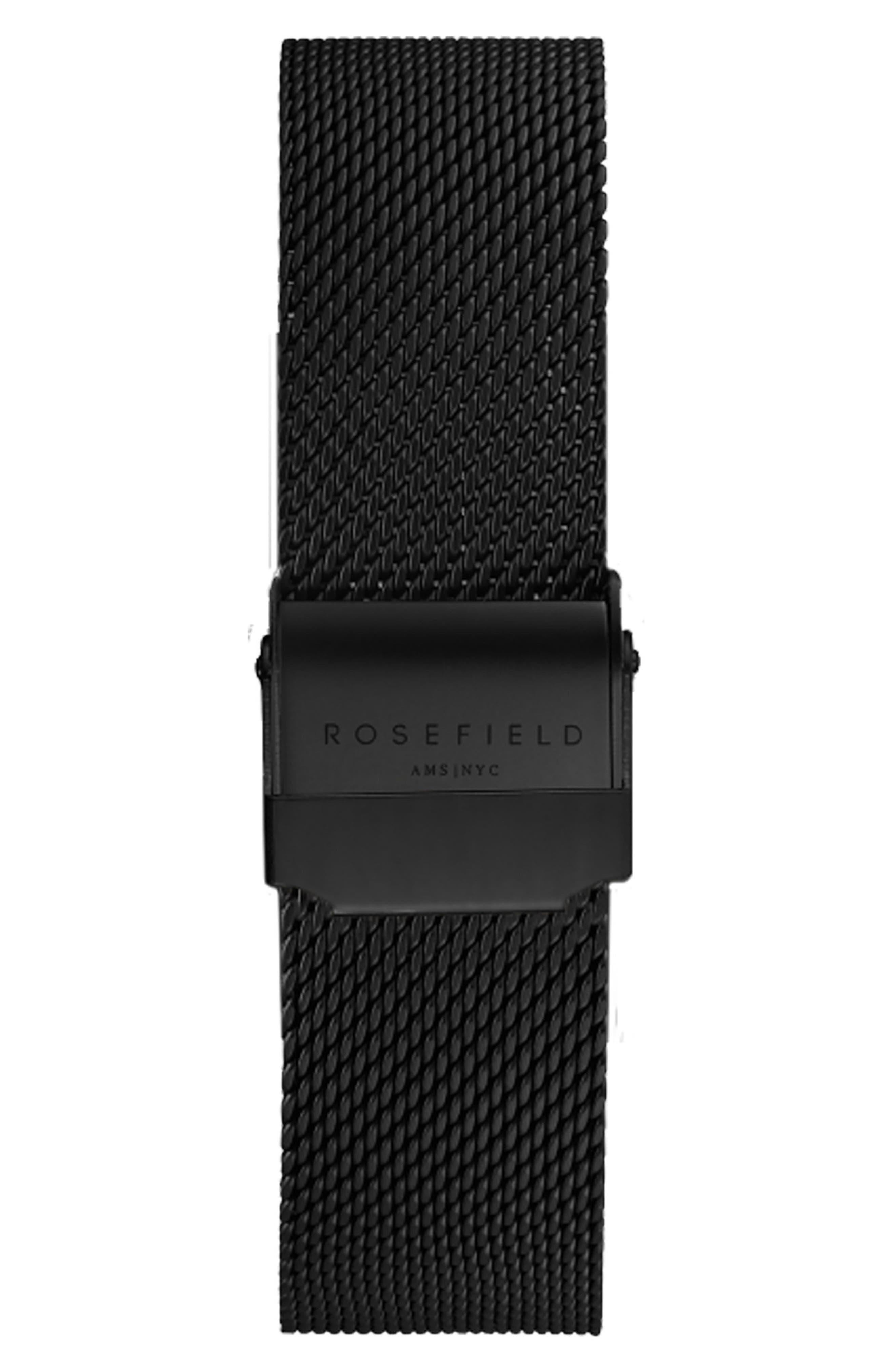 Mercer Mesh Strap Watch, 38mm,                             Alternate thumbnail 2, color,                             Black