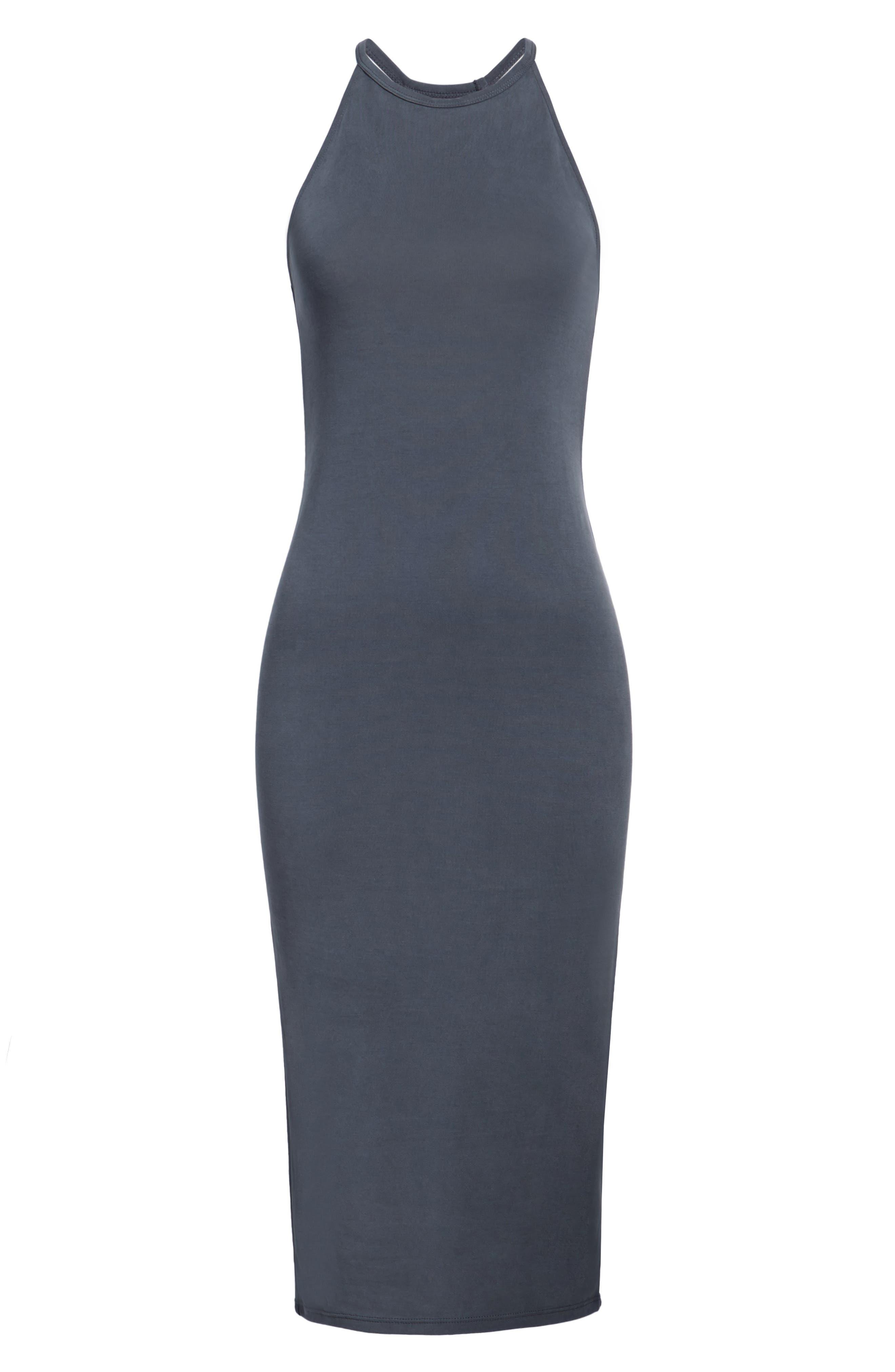 Cutaway Tank Dress,                             Alternate thumbnail 6, color,                             Grey Ebony