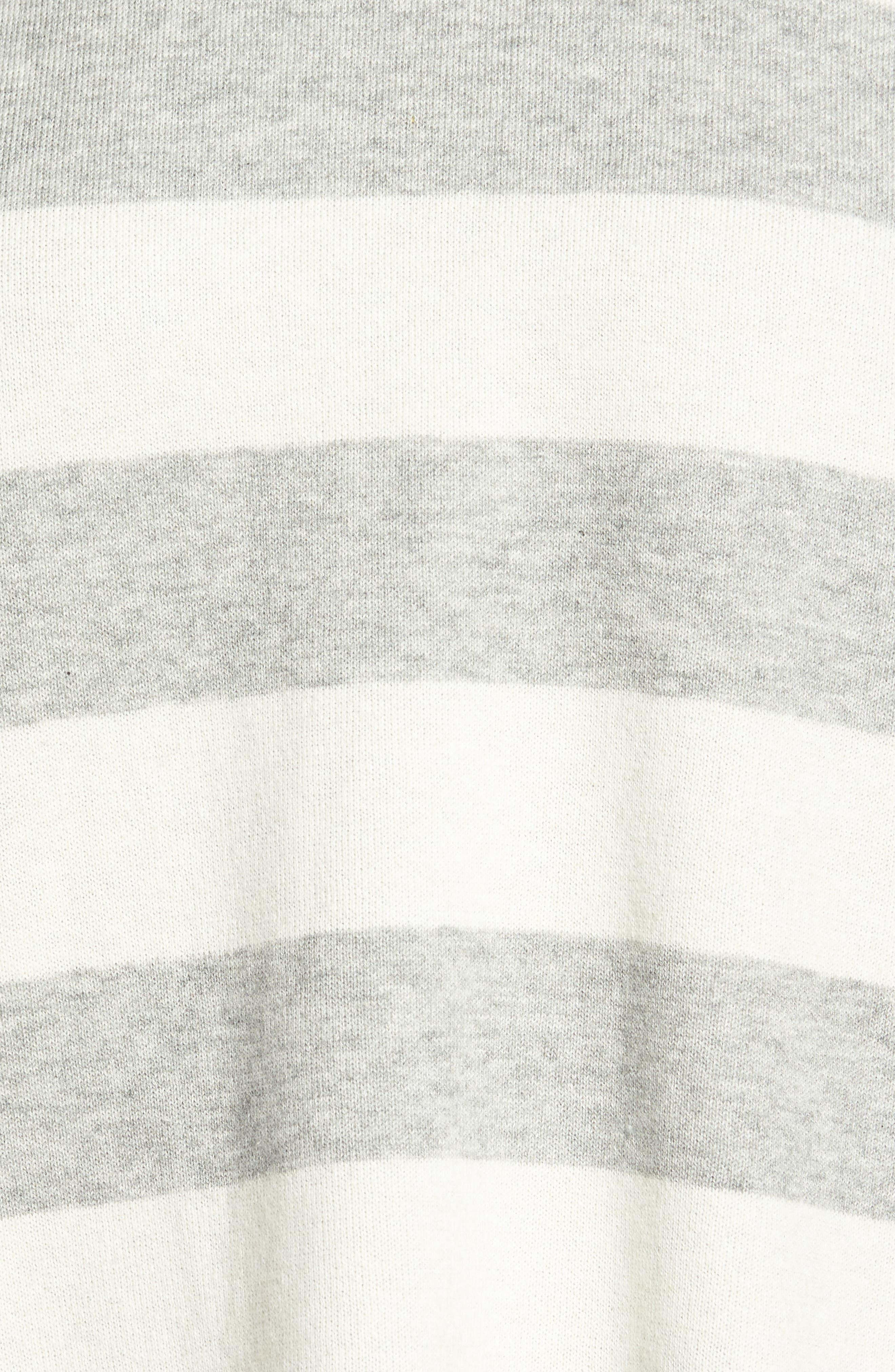 Stripe Organic Cotton Blend Top,                             Alternate thumbnail 5, color,                             Dark Pearl/ Soft White
