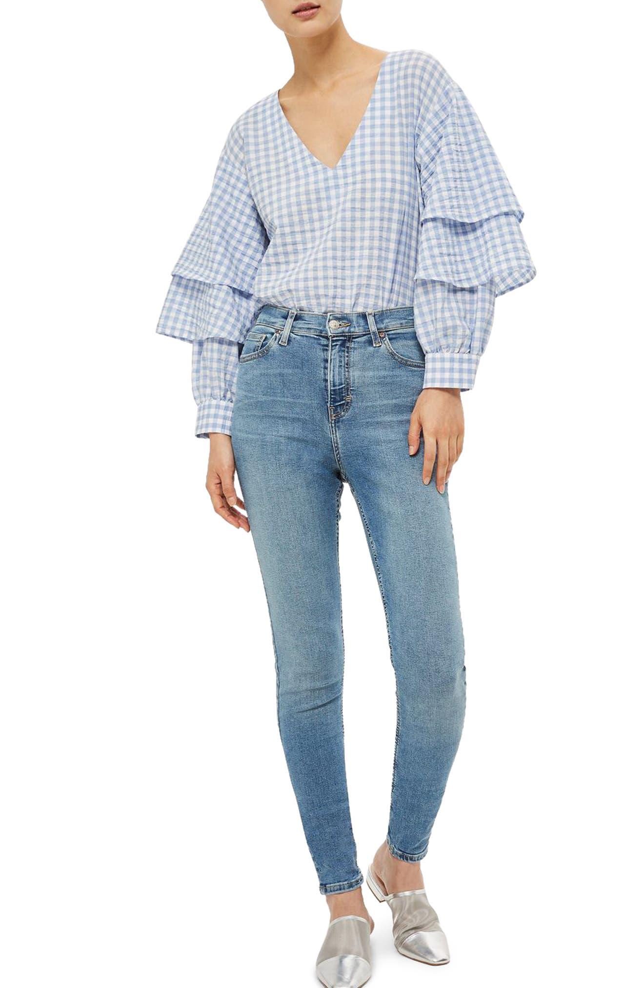Jamie High Waist Skinny Jeans,                         Main,                         color, Mid Denim