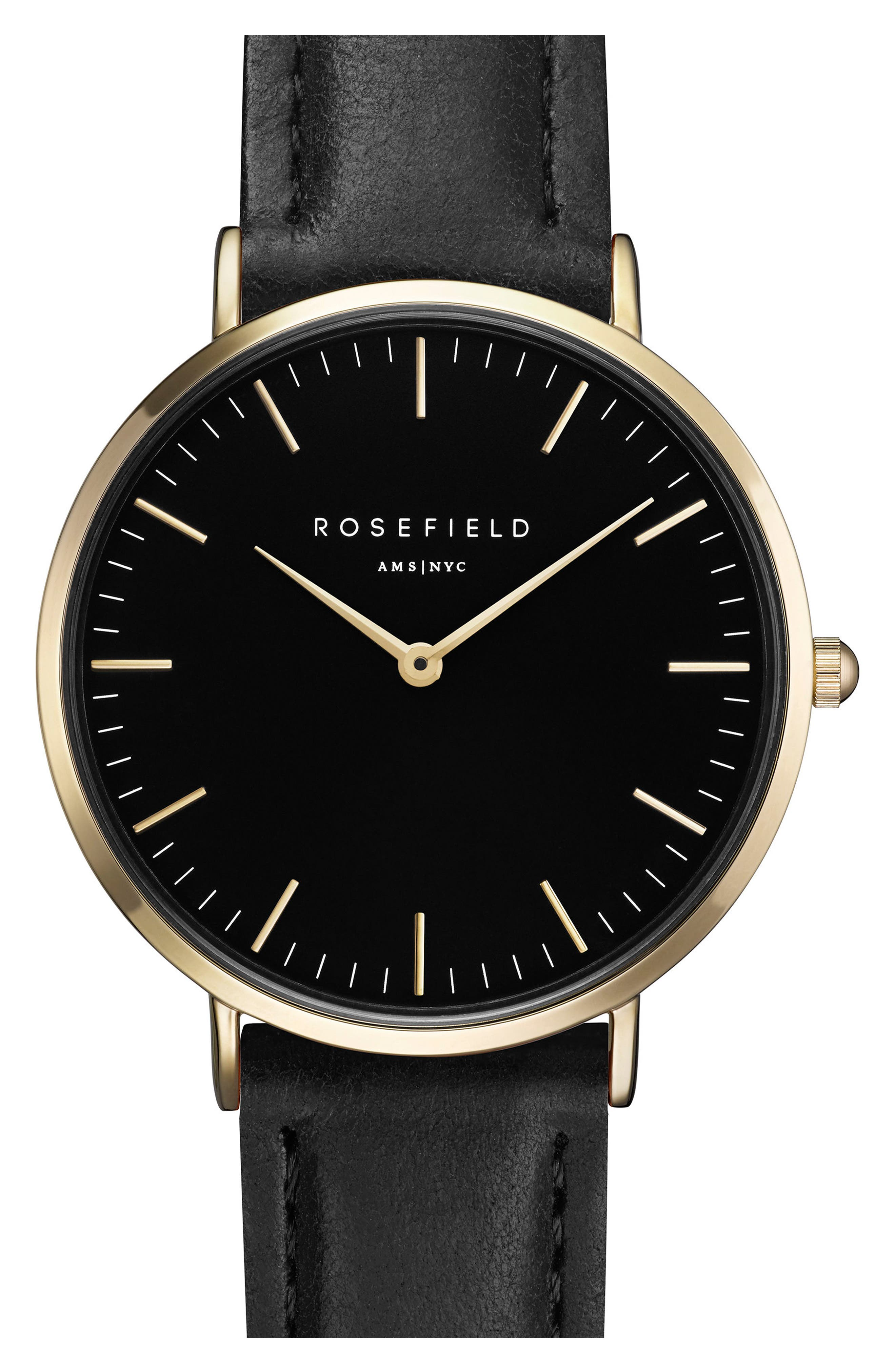 Tribeca Leather Strap Watch, 33mm,                         Main,                         color, Black/ Gold