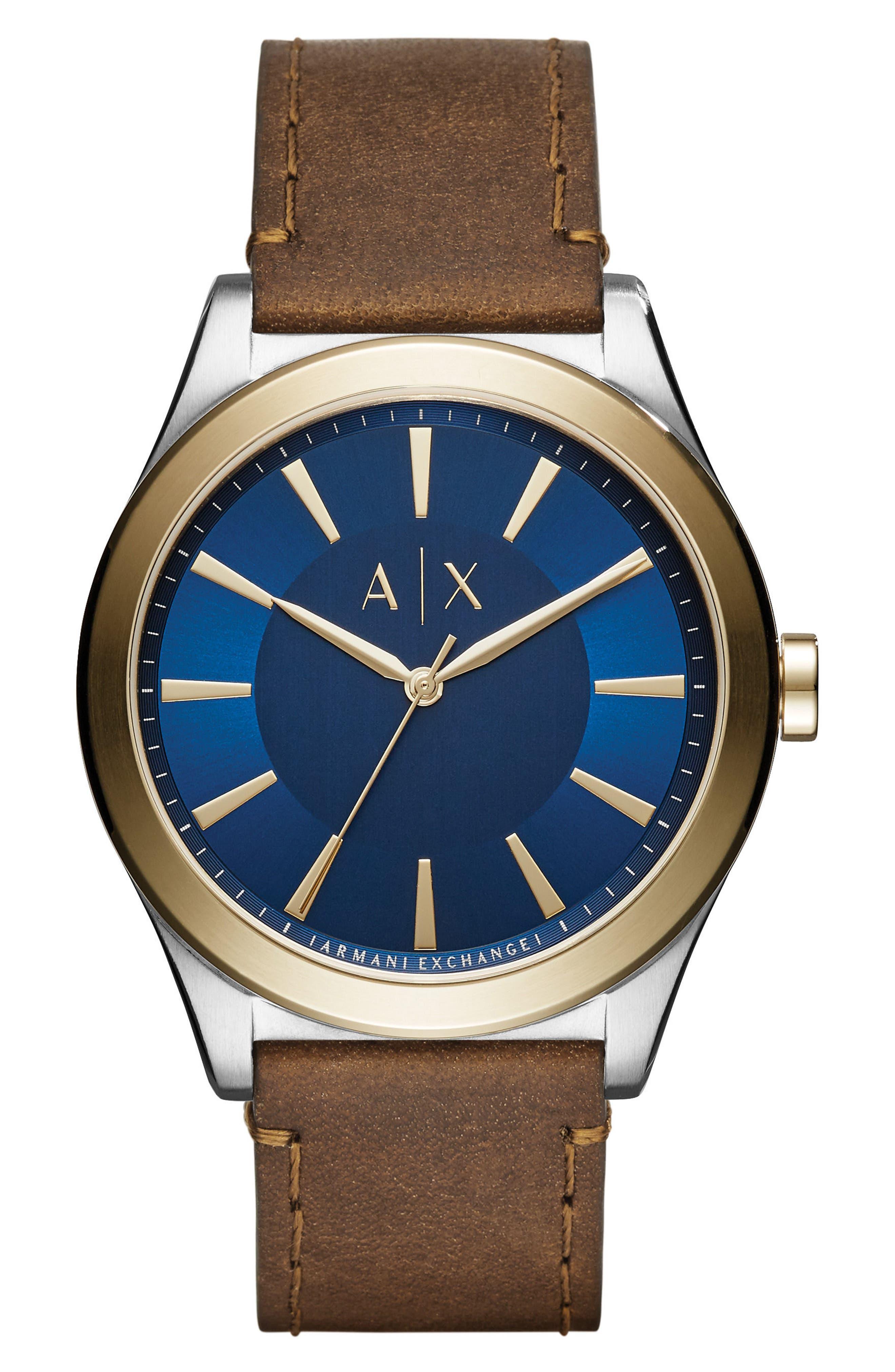 AX Armani Exchange Nico Two-Tone Leather Strap Watch, 44mm