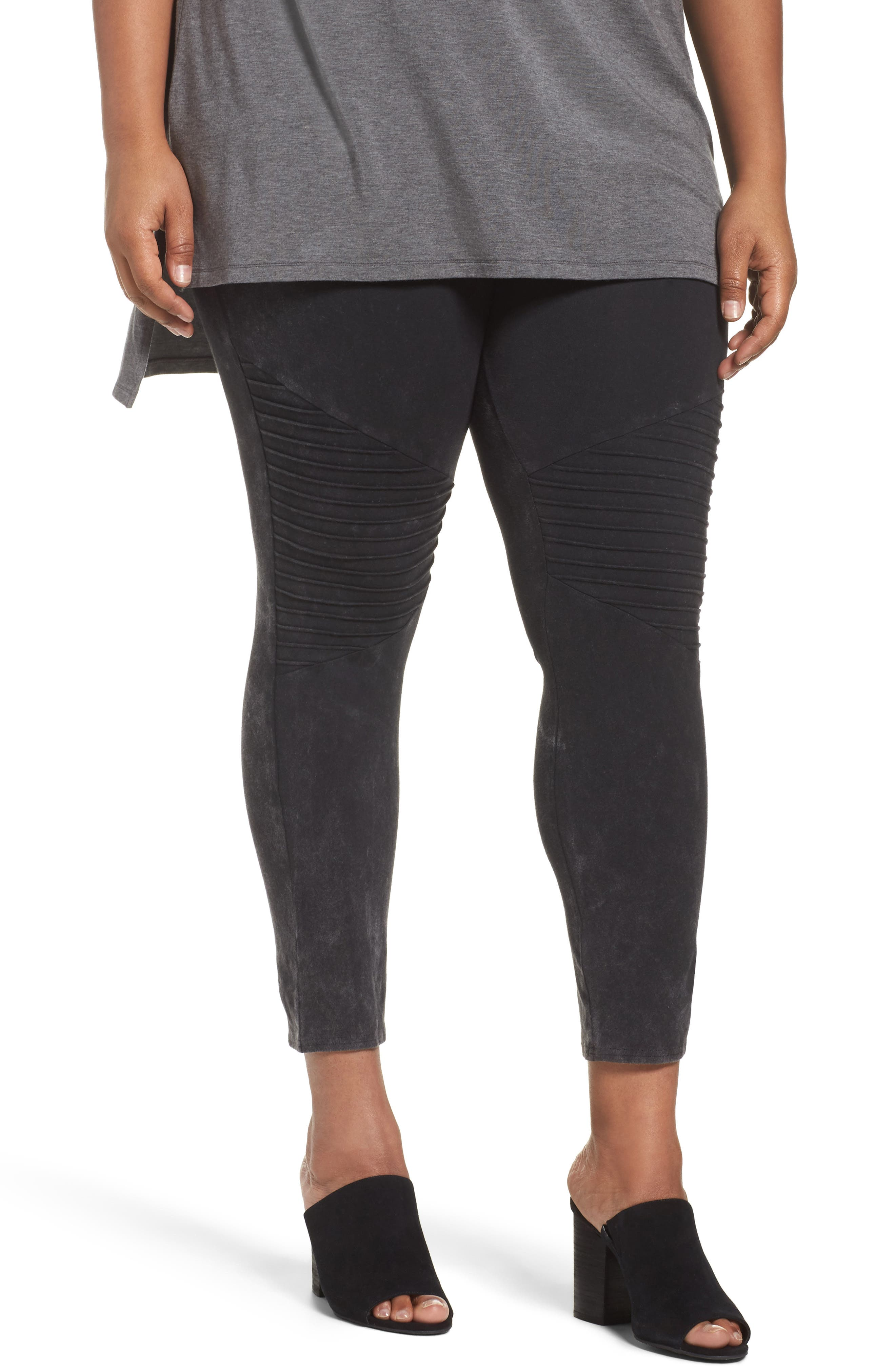 Nordstrom Moto Washed Cotton Blend Leggings (Plus Size)