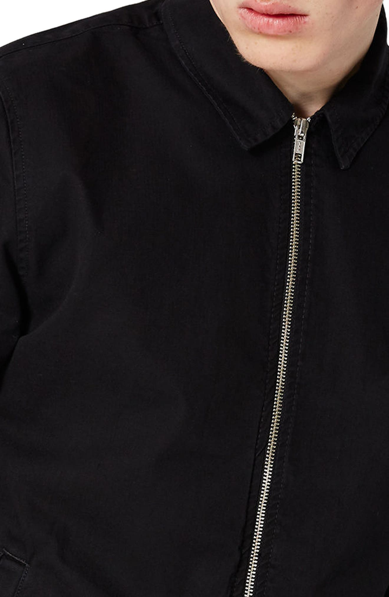 Herringbone Zip Shirt Jacket,                             Alternate thumbnail 4, color,                             Black
