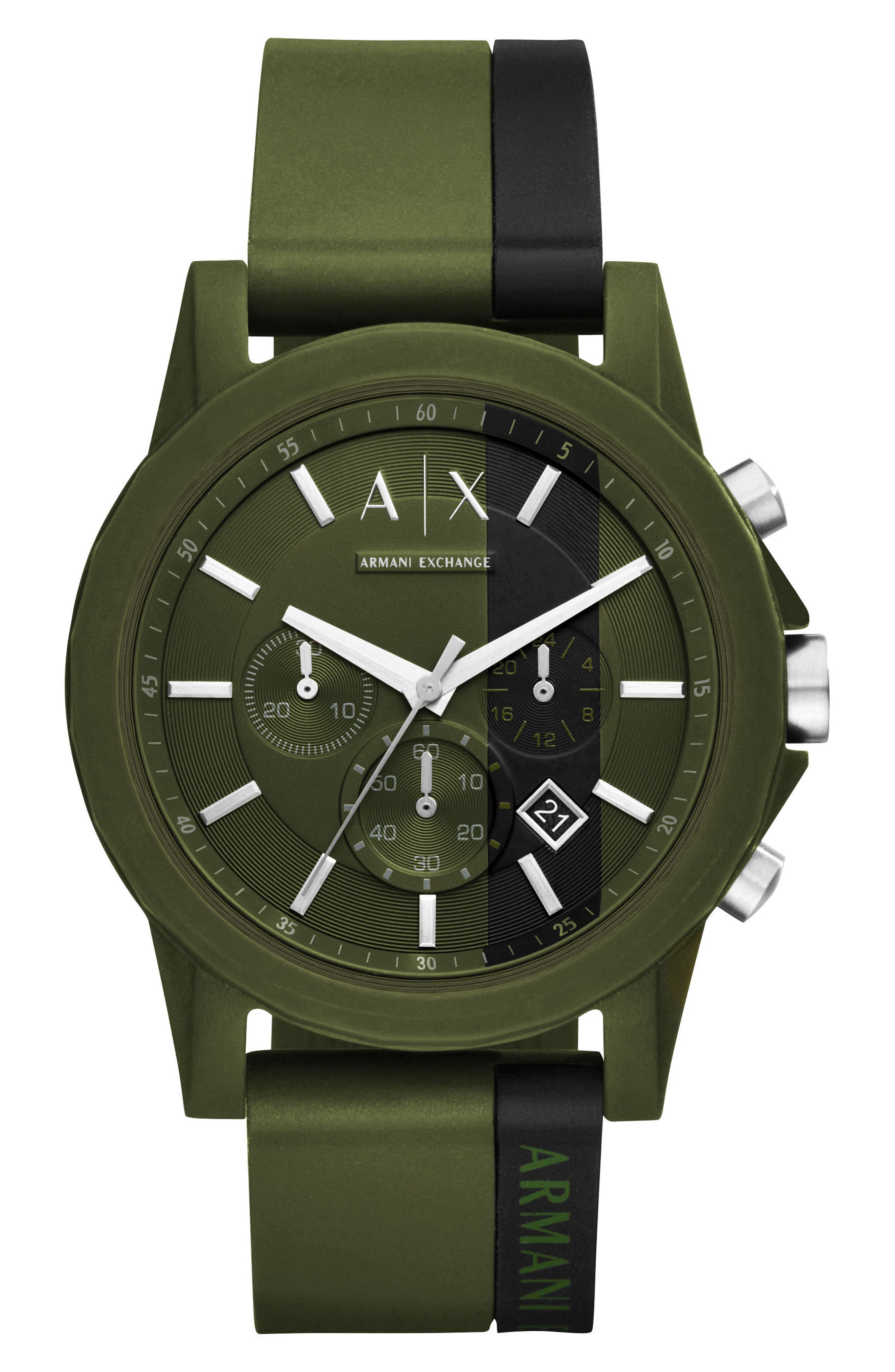 Chronograph Stripe Silicone Strap Watch, 44mm,                             Main thumbnail 1, color,                             Black/ Green