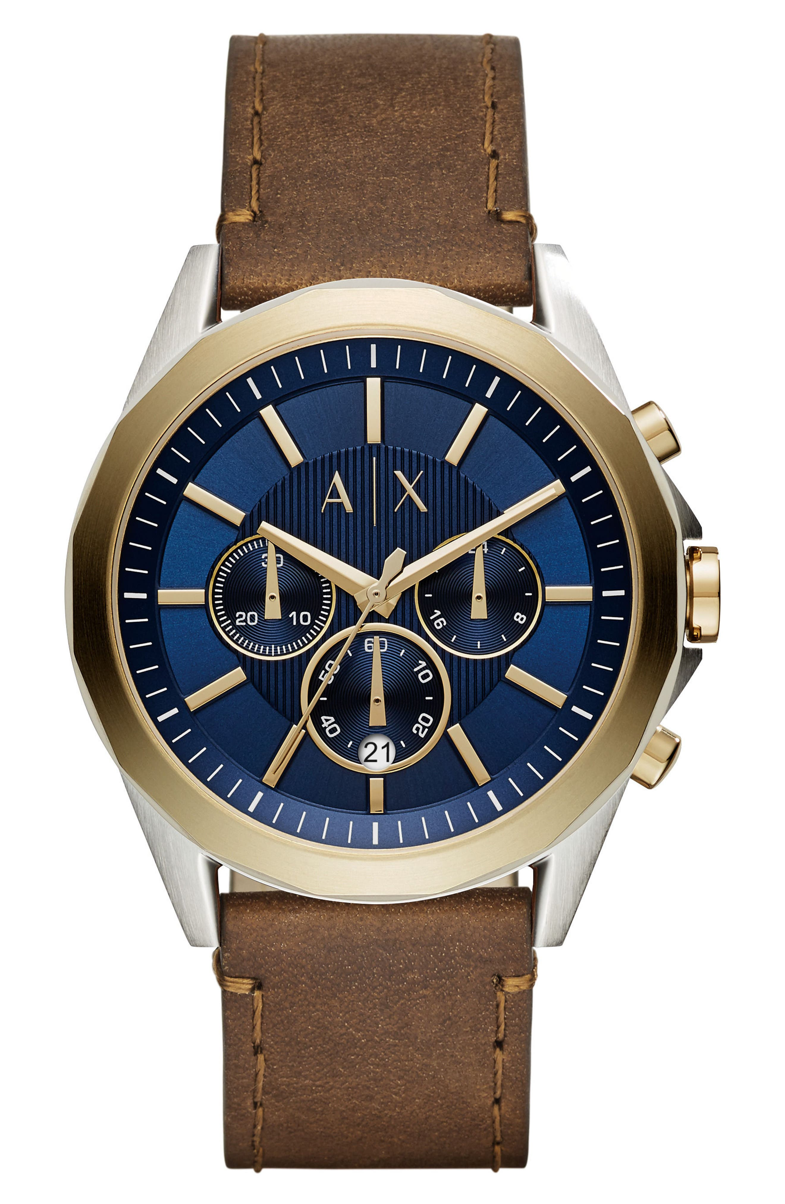 Chronograph Leather Strap Watch, 46mm,                         Main,                         color, Blue/ Tan