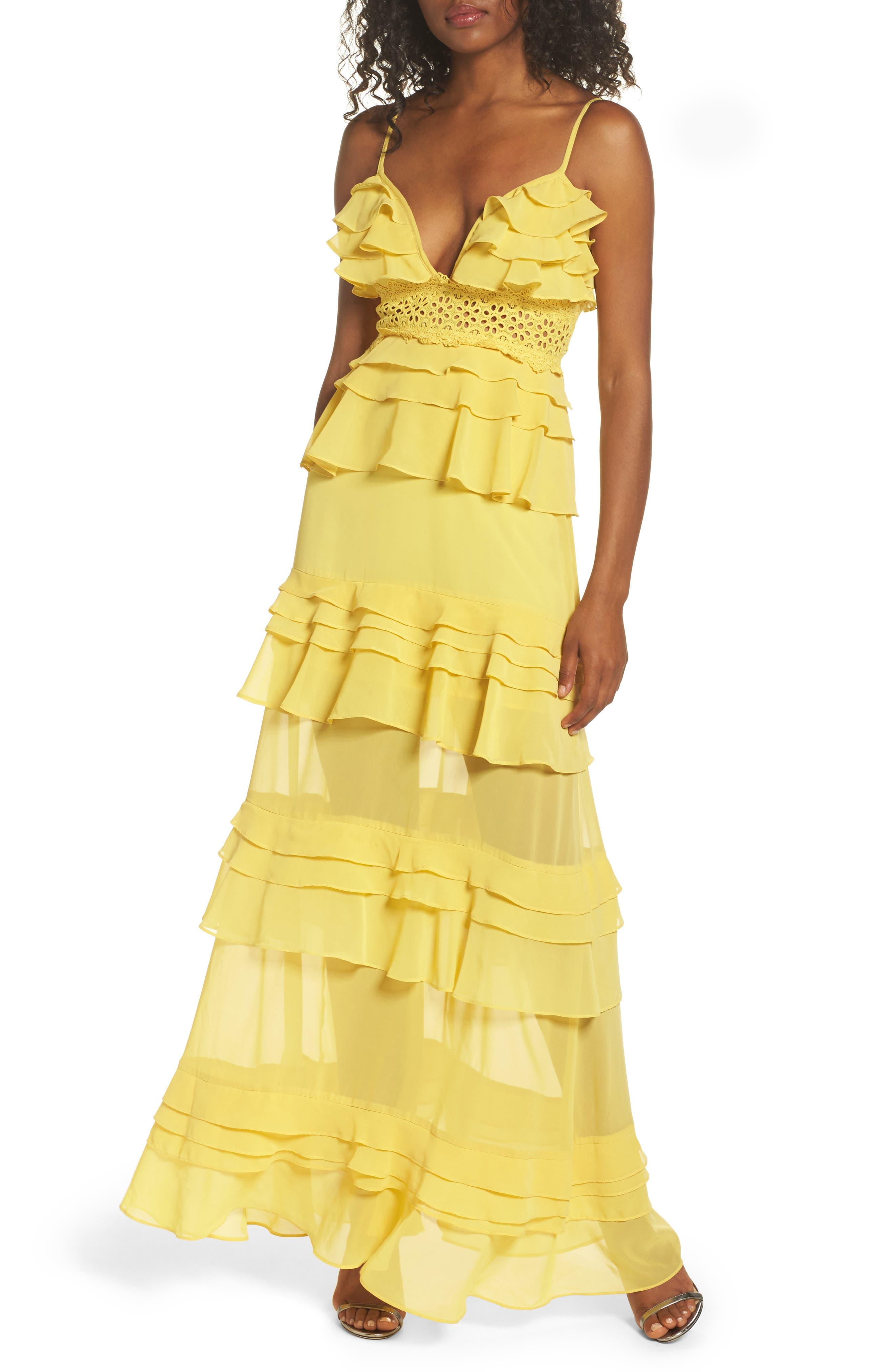 Ruffle Maxi Dress,                         Main,                         color, Yellow