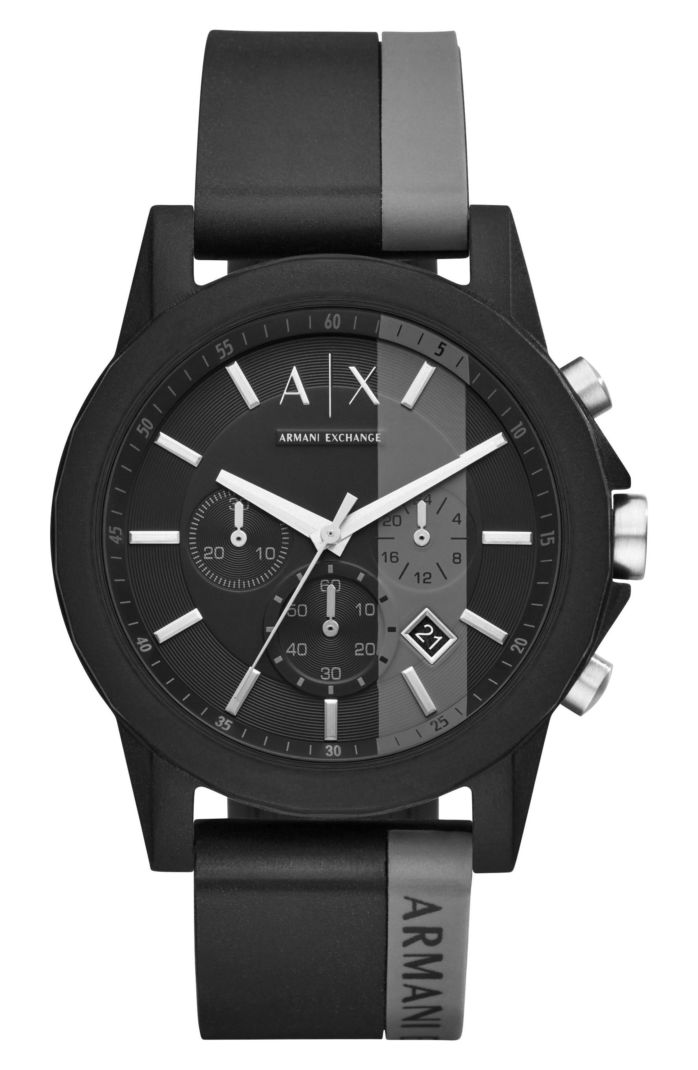 Chronograph Stripe Silicone Strap Watch, 45mm,                         Main,                         color, Grey/ Black