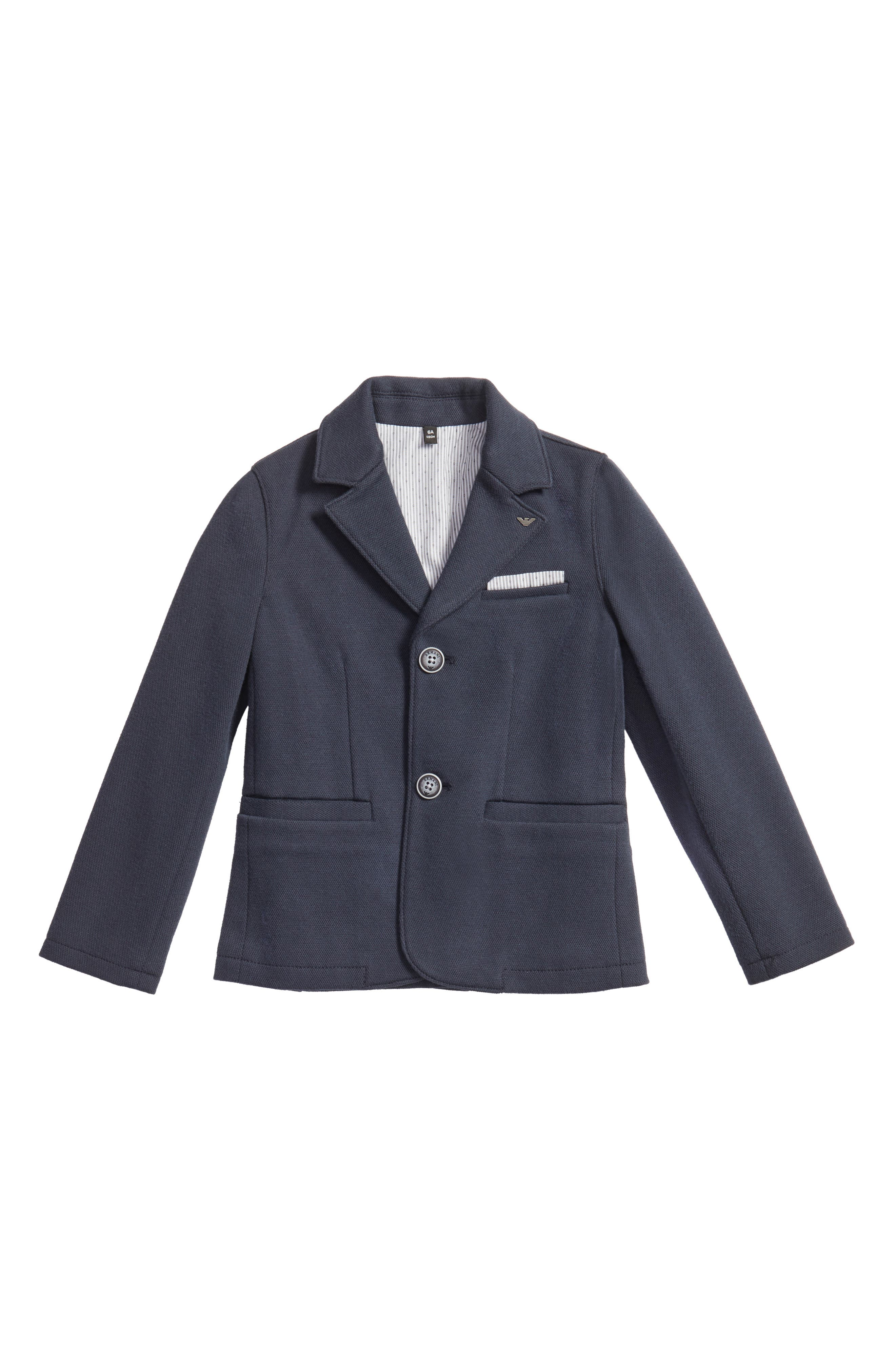 Piqué Blazer,                         Main,                         color, Navy