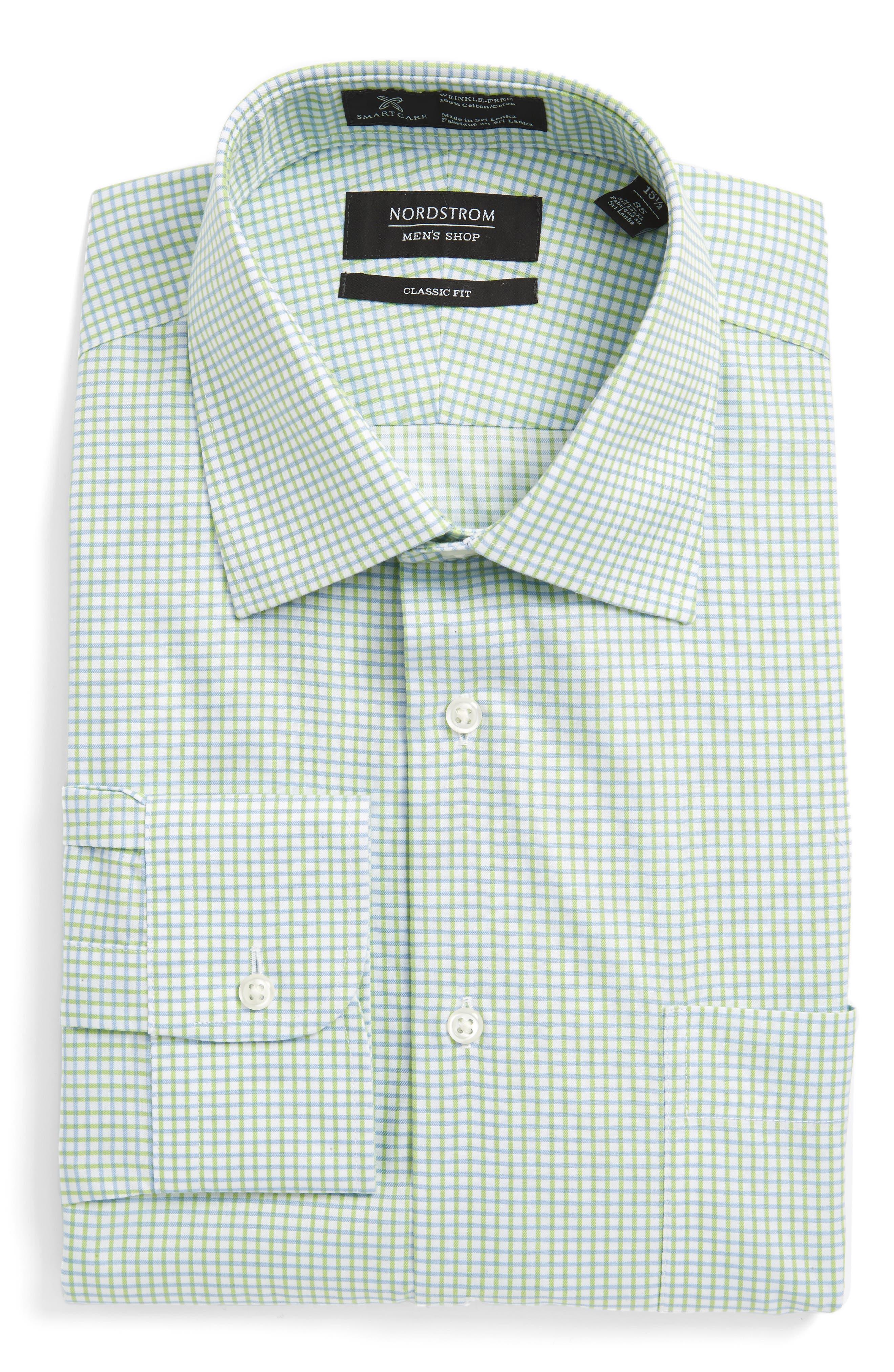 Smartcare<sup>™</sup> Classic Fit Check Dress Shirt,                             Main thumbnail 1, color,                             Green Atom