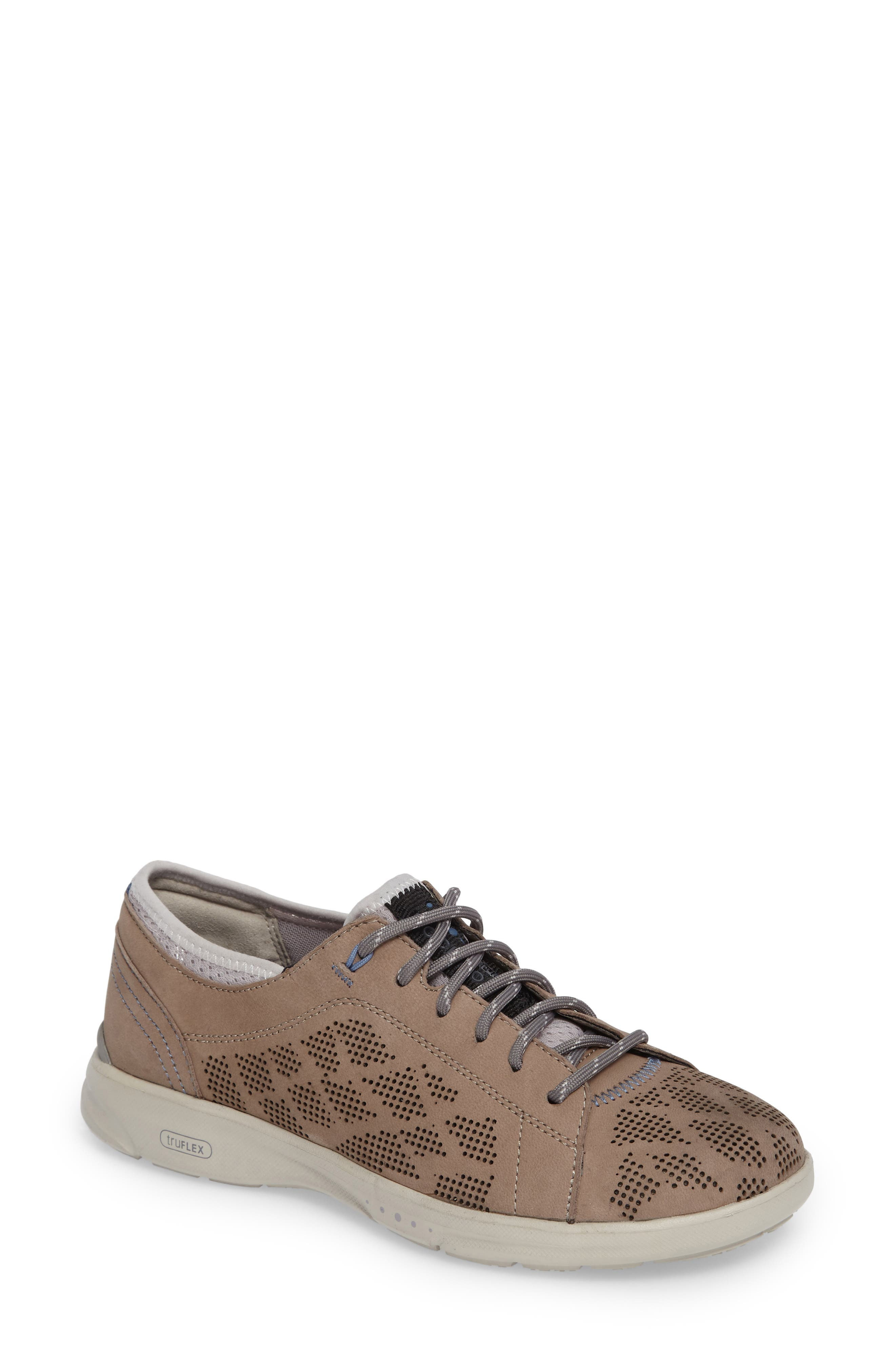 truFLEX Perforated Sneaker,                             Main thumbnail 1, color,                             Sand Leather