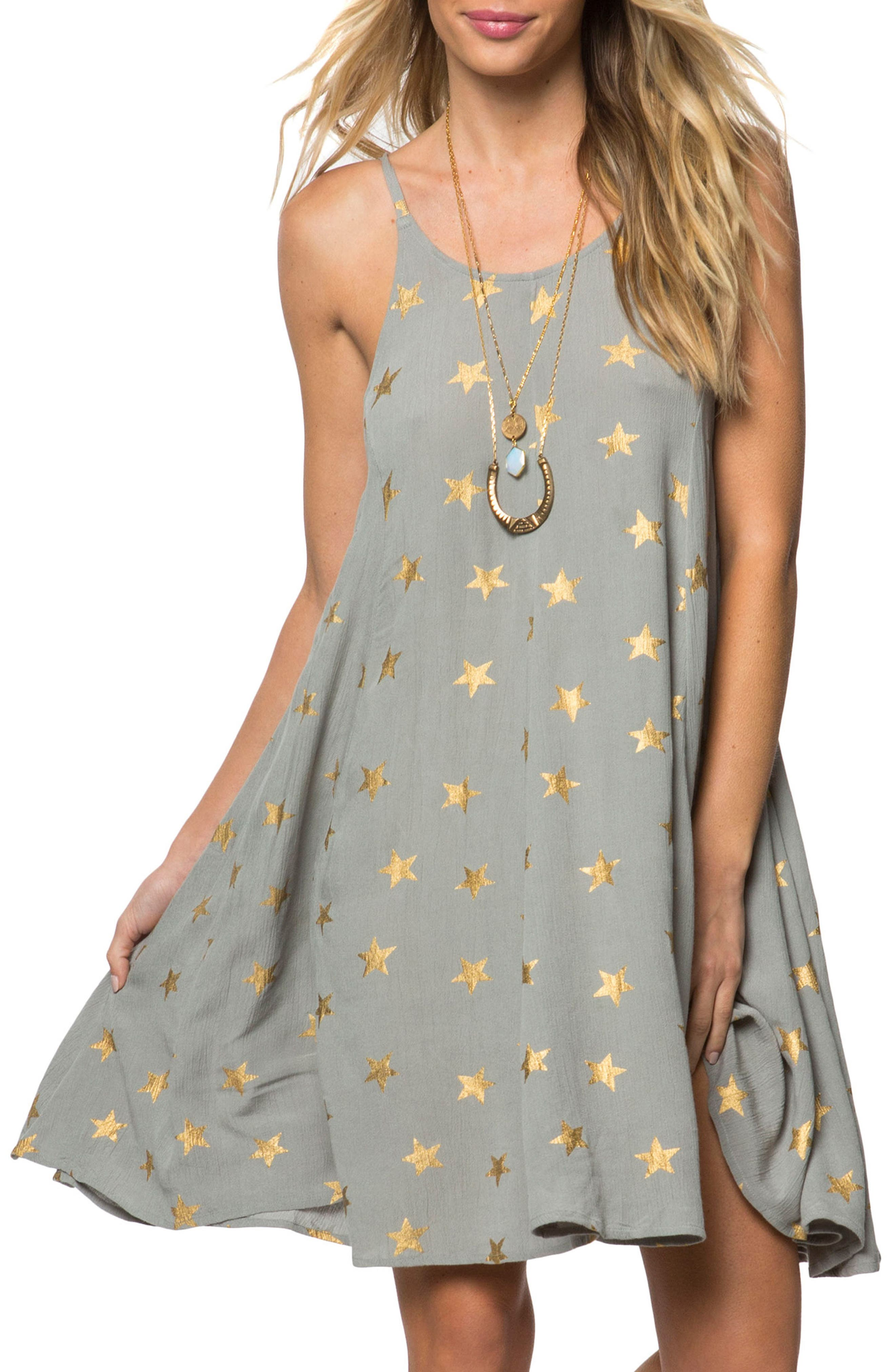 Faye Star Print Dress,                         Main,                         color, Dusted Blue